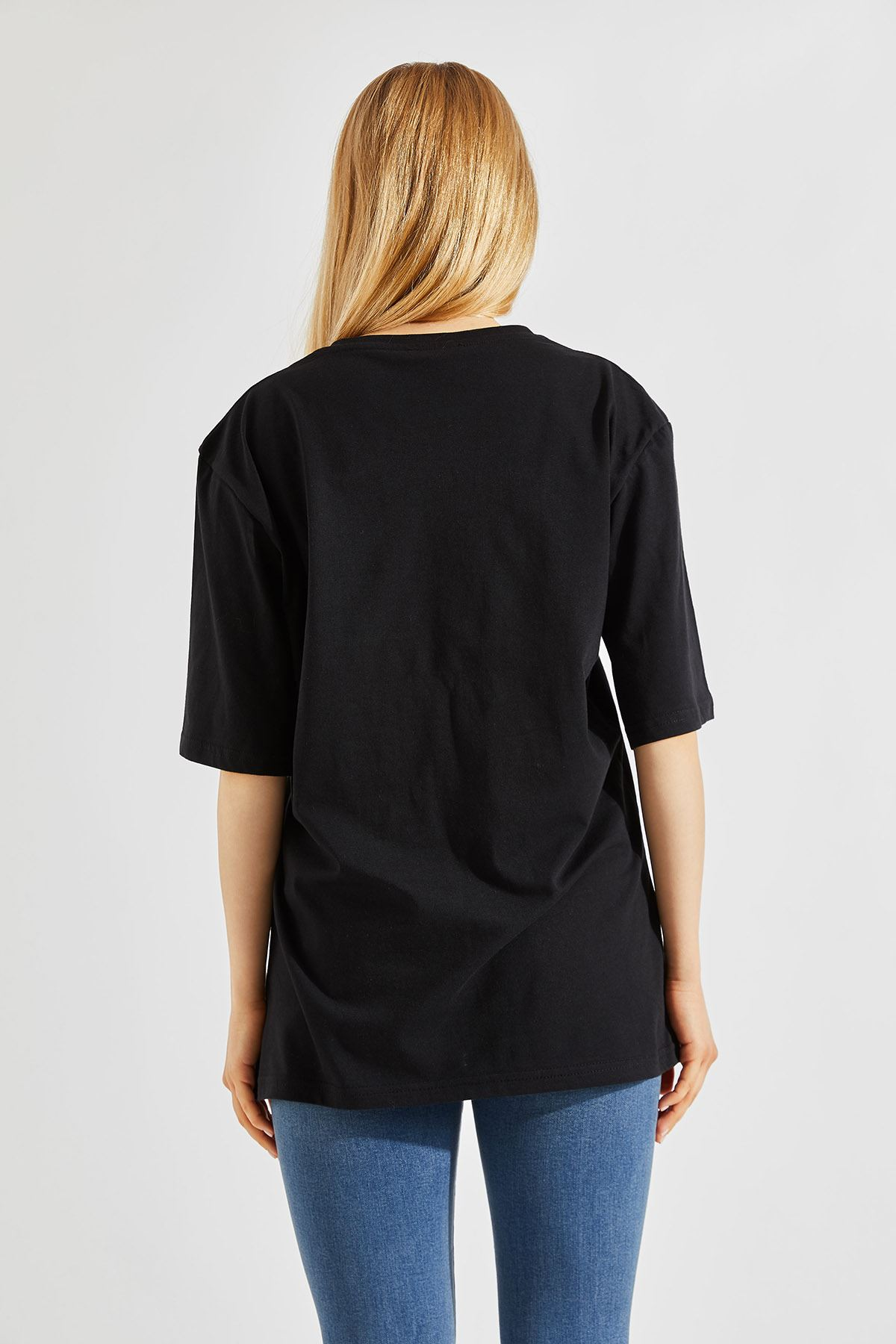 Kadın Oversize Bisiklet Yaka Siyah Tişört