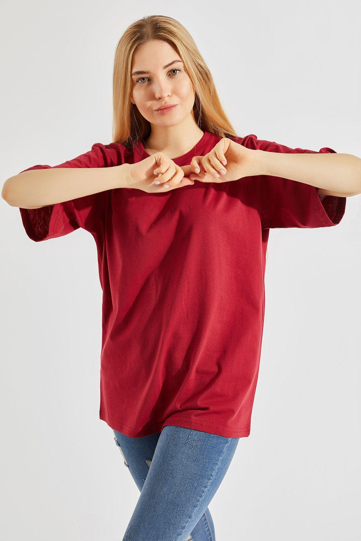 Kadın Oversize Bisiklet Yaka Bordo Tişört