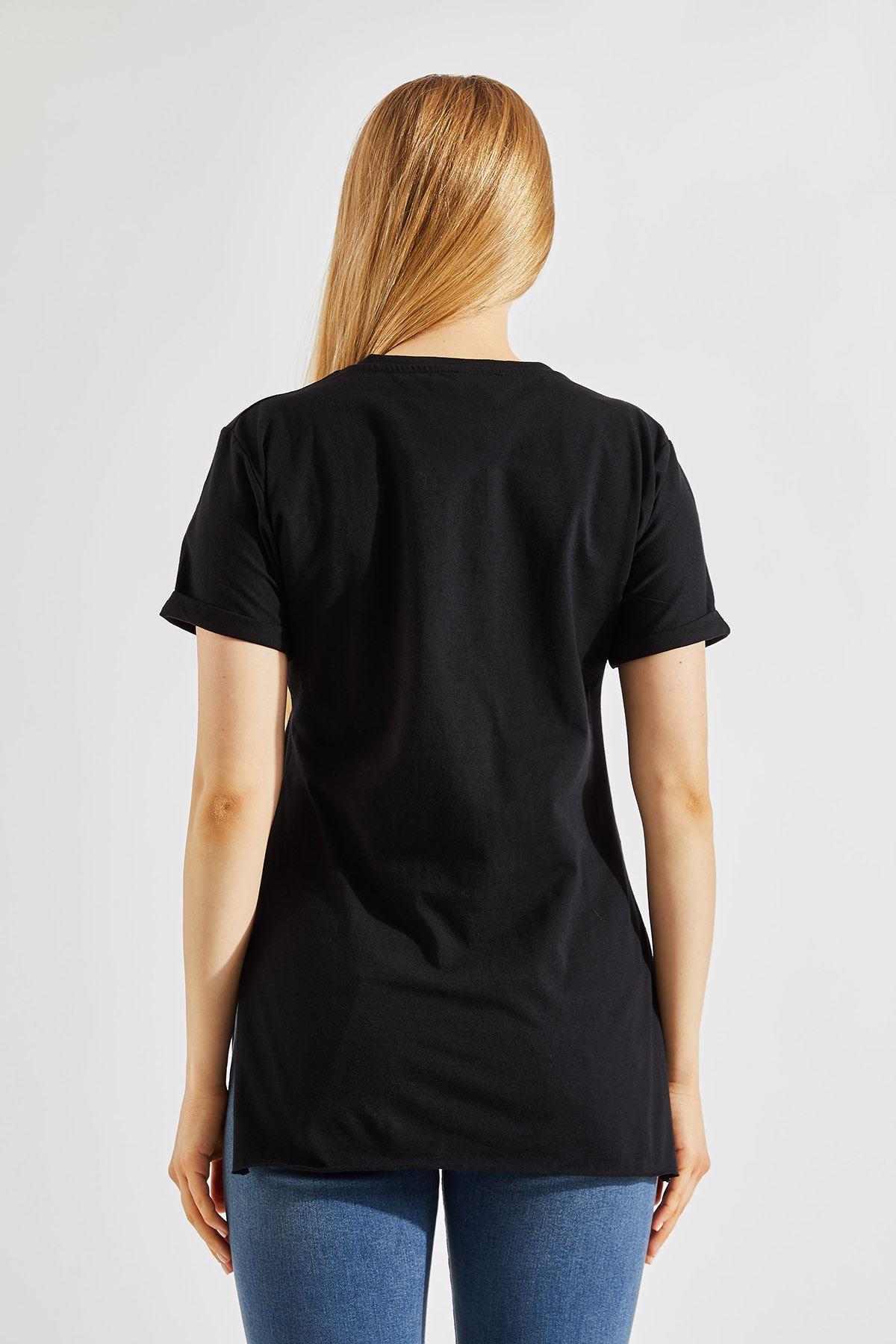 Kadın Yırtmaçlı Siyah Tişört