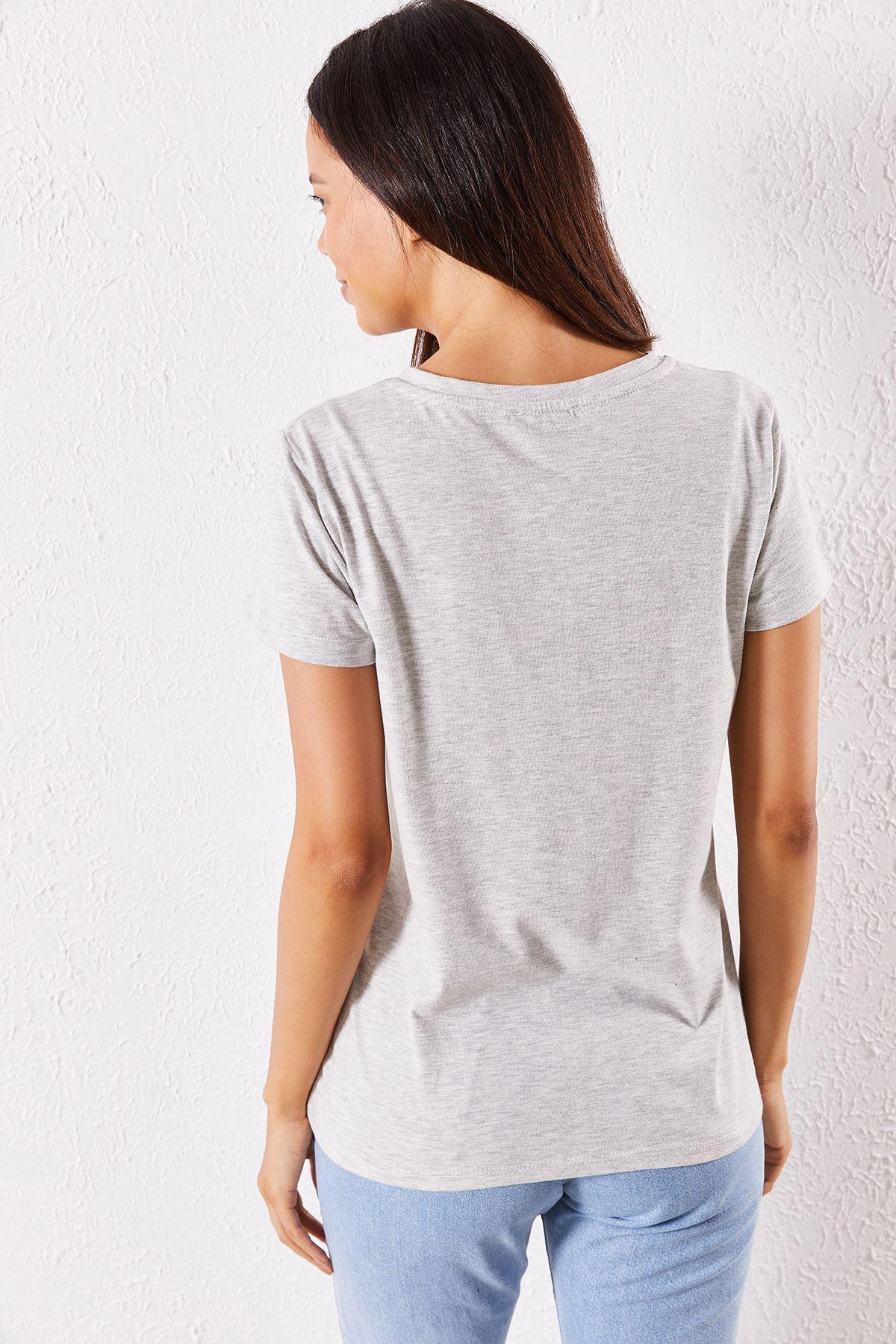 Kadın Eşli Pepper Baskılı Beyaz Tişört