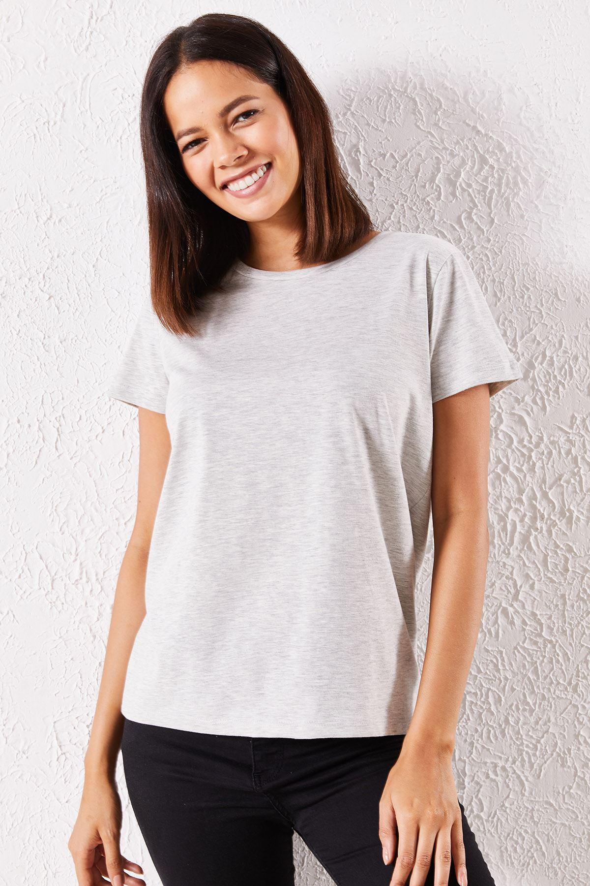 Kadın Eşli Mrs. Baskılı Gri Tişört