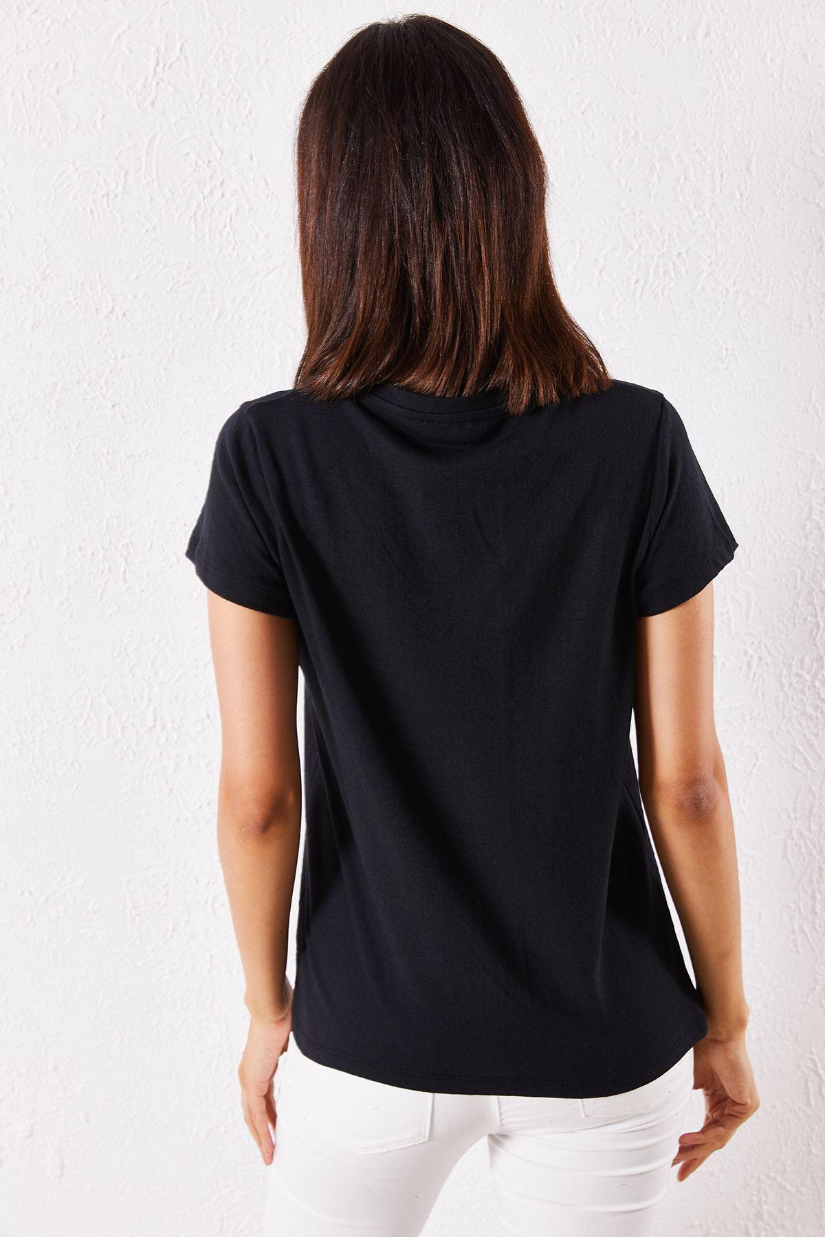 Kadn Eşli Bodrum Baskılı Siyah Tişört