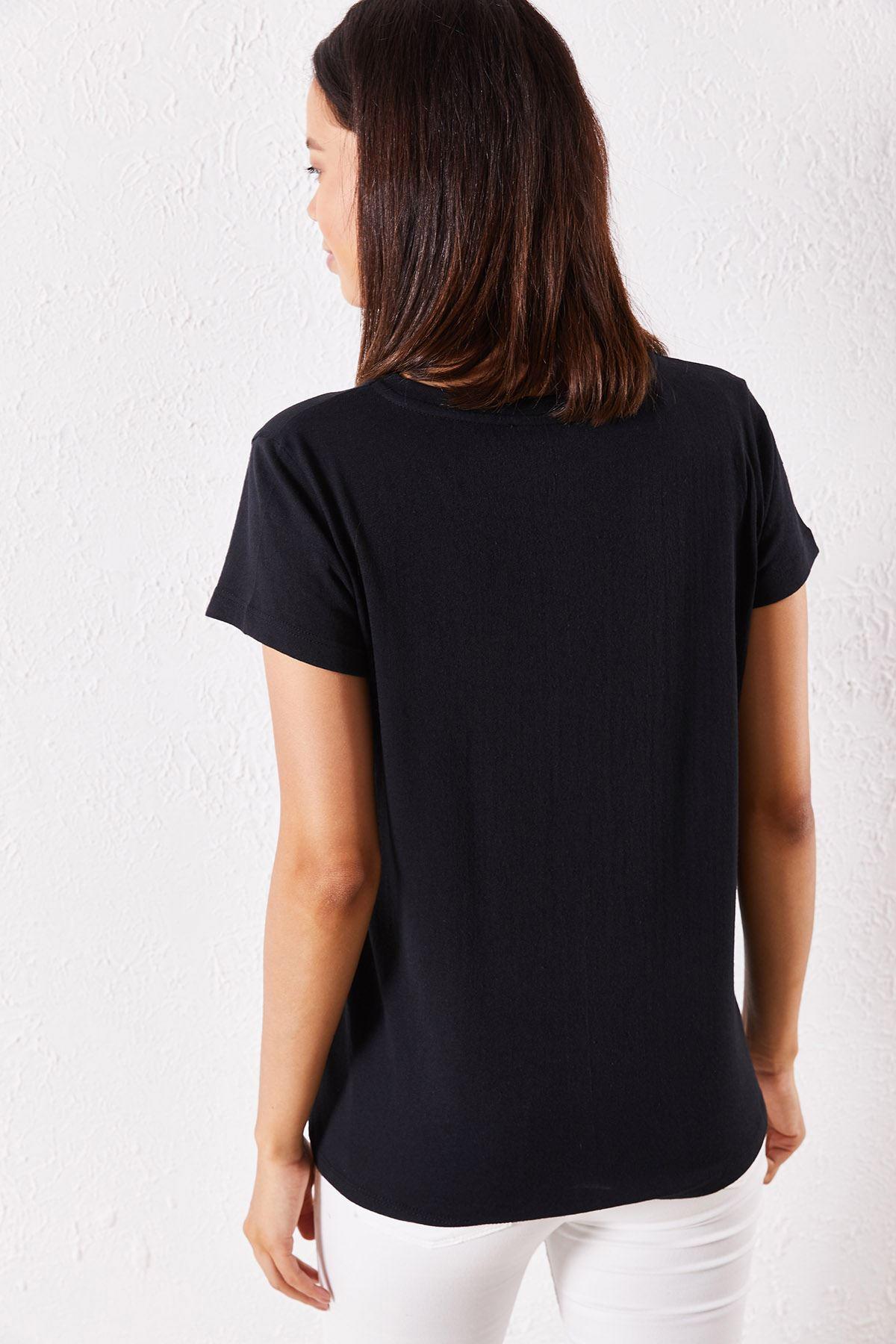 Kadın Eşli Mrs Rigbt Baskılı Siyah Tişört