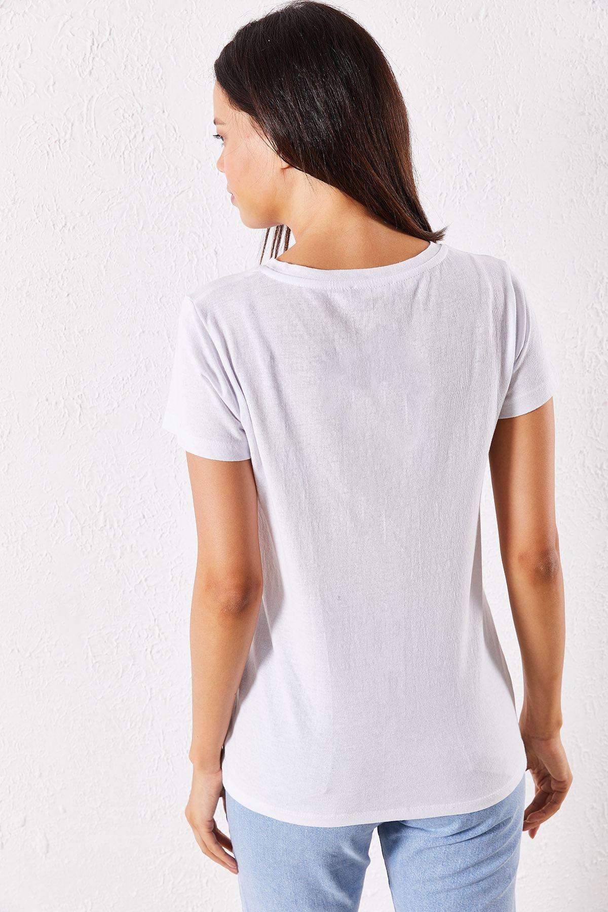 Kadın Eşli Wifi Baskılı Beyaz Tişört