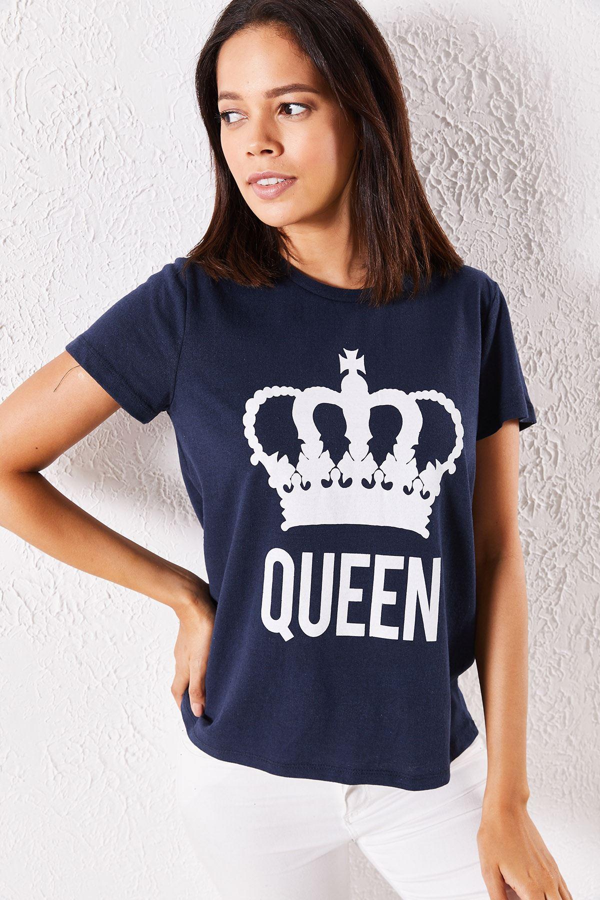 Kadın Eşli Queen Baskılı Lacivert Tişört