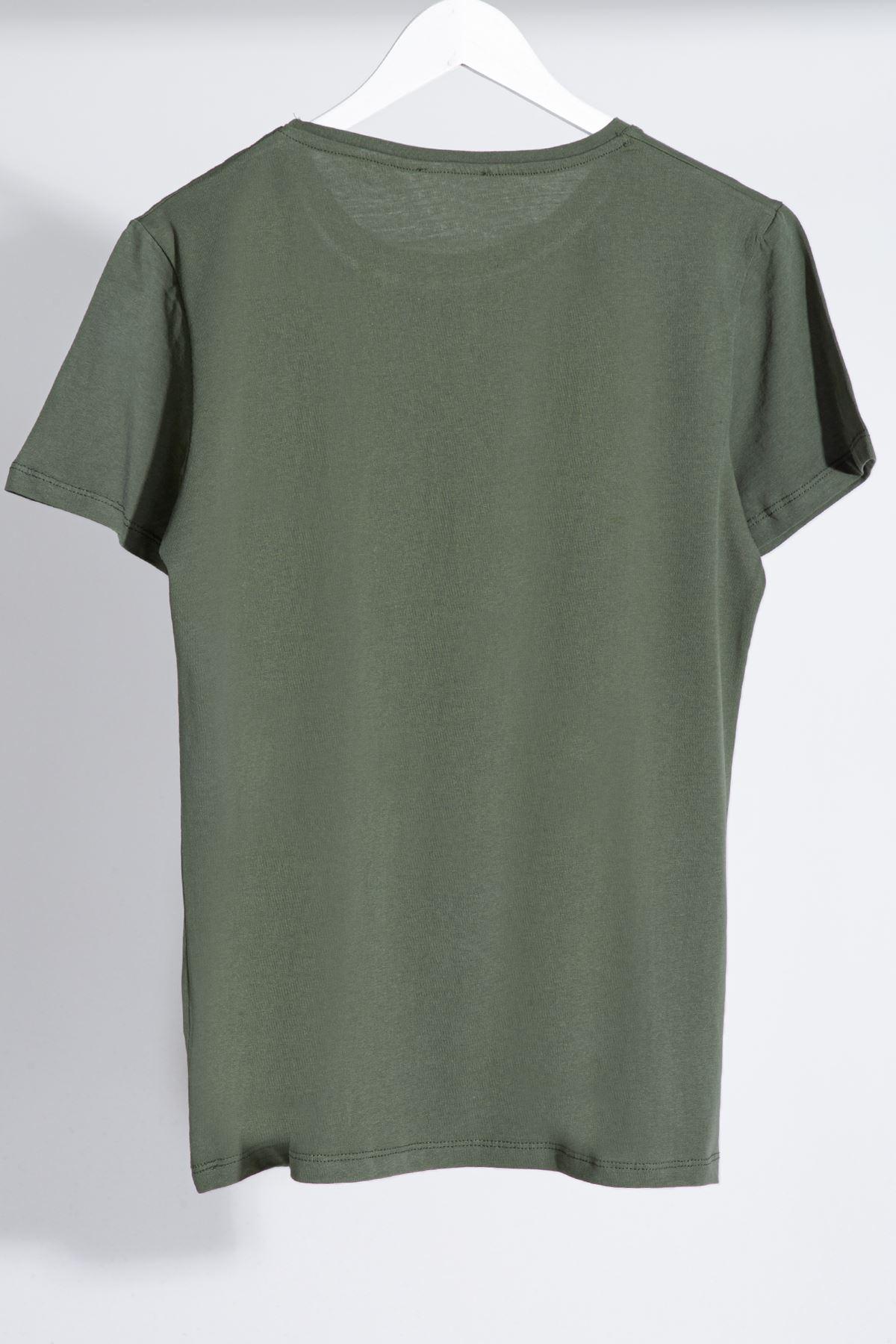 Erkek Nakışlı Haki Tişört