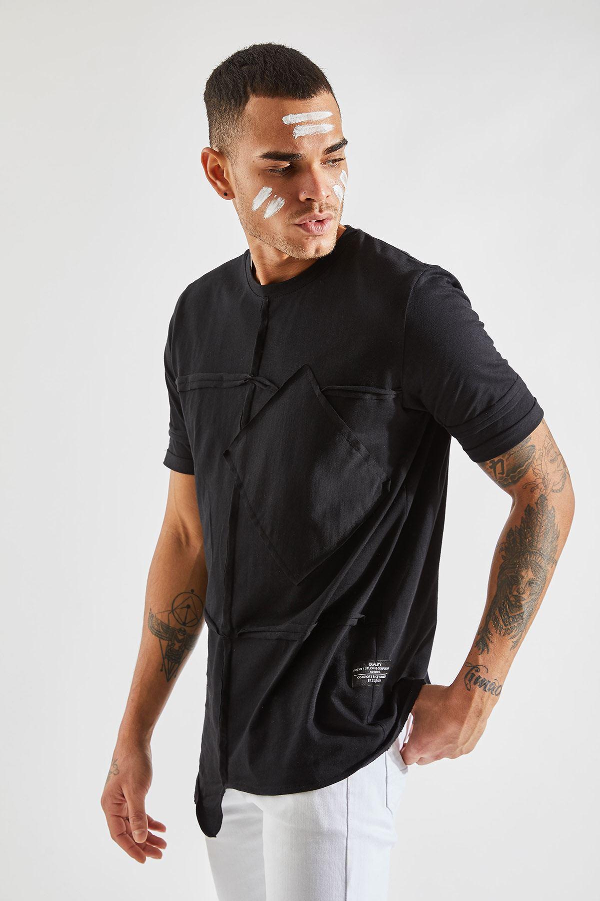 Erkek Parçalı Cepli Siyah T-Shirt