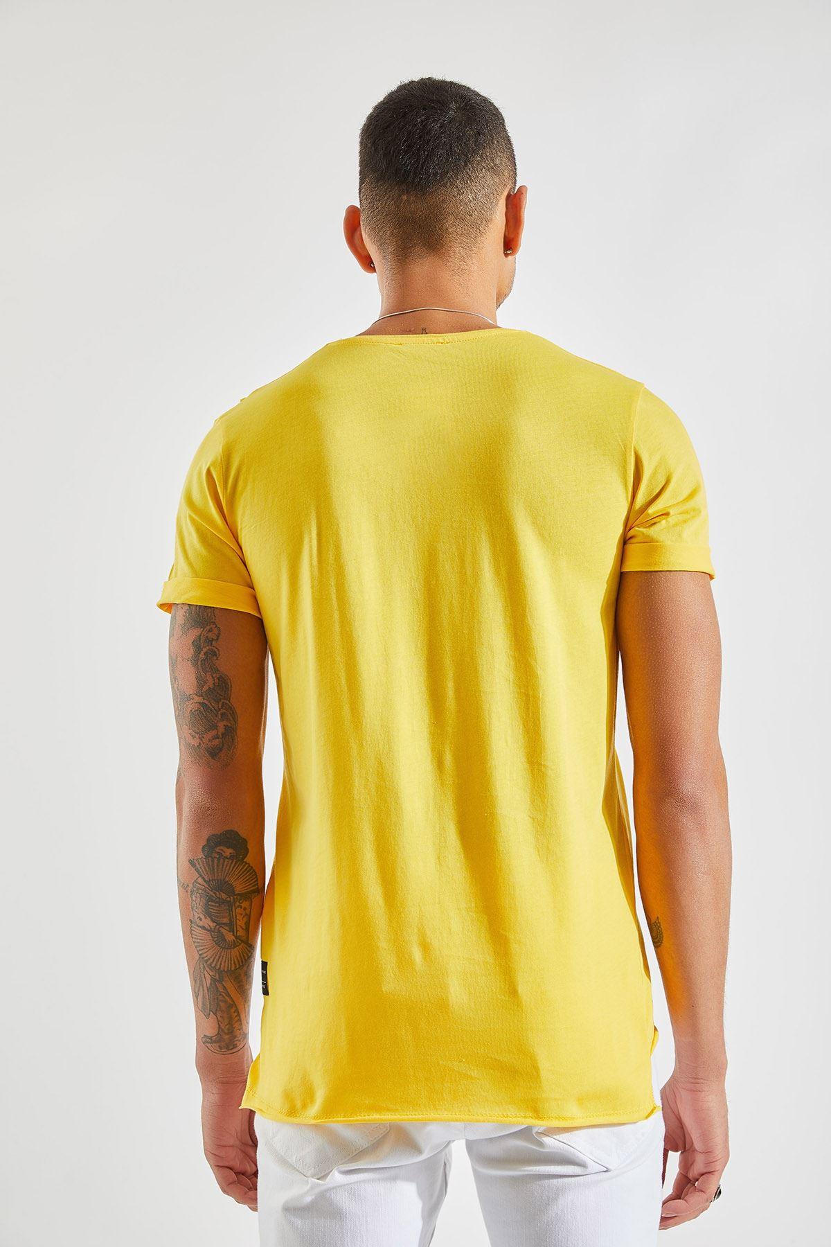 Erkek Cep Karyoka Sarı Tişört