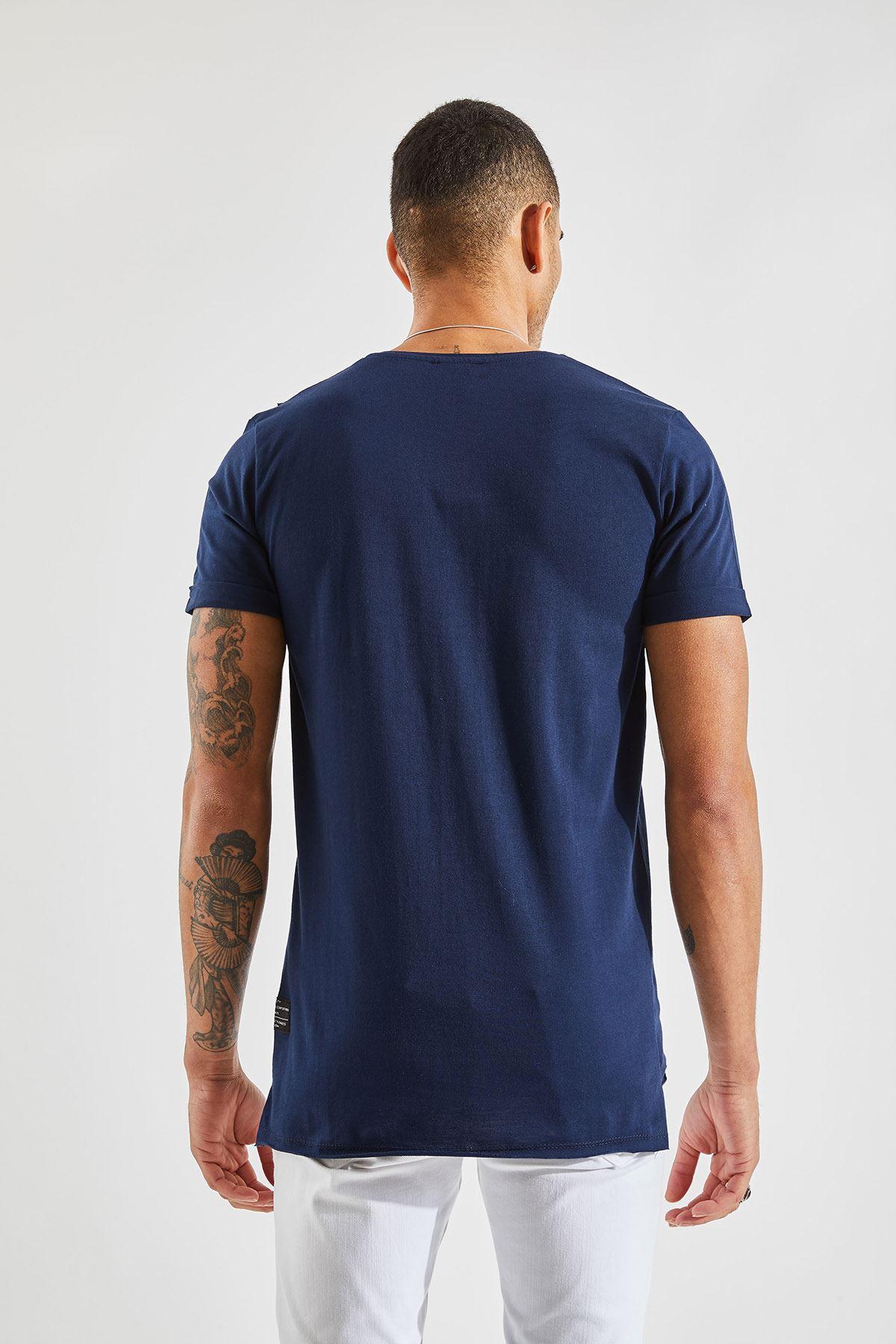 Erkek Cep Karyoka Lacivert Tişört