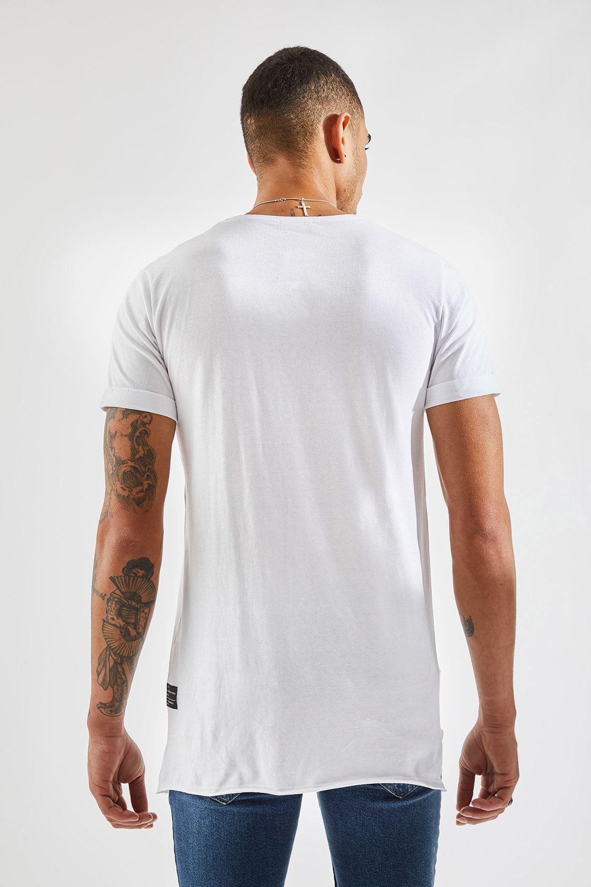 Erkek Cep Karyoka Beyaz Tişört