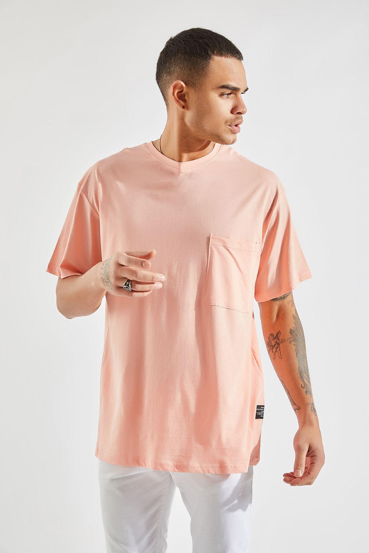 Erkek Oversize Cepli Somon Tişört