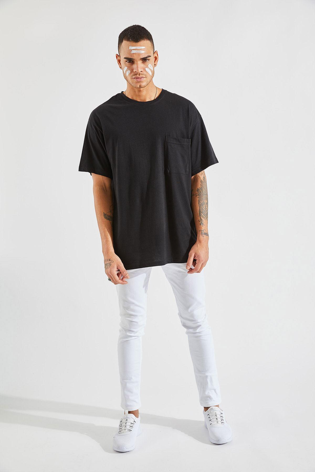 Erkek Oversize Cepli Siyah Tişört