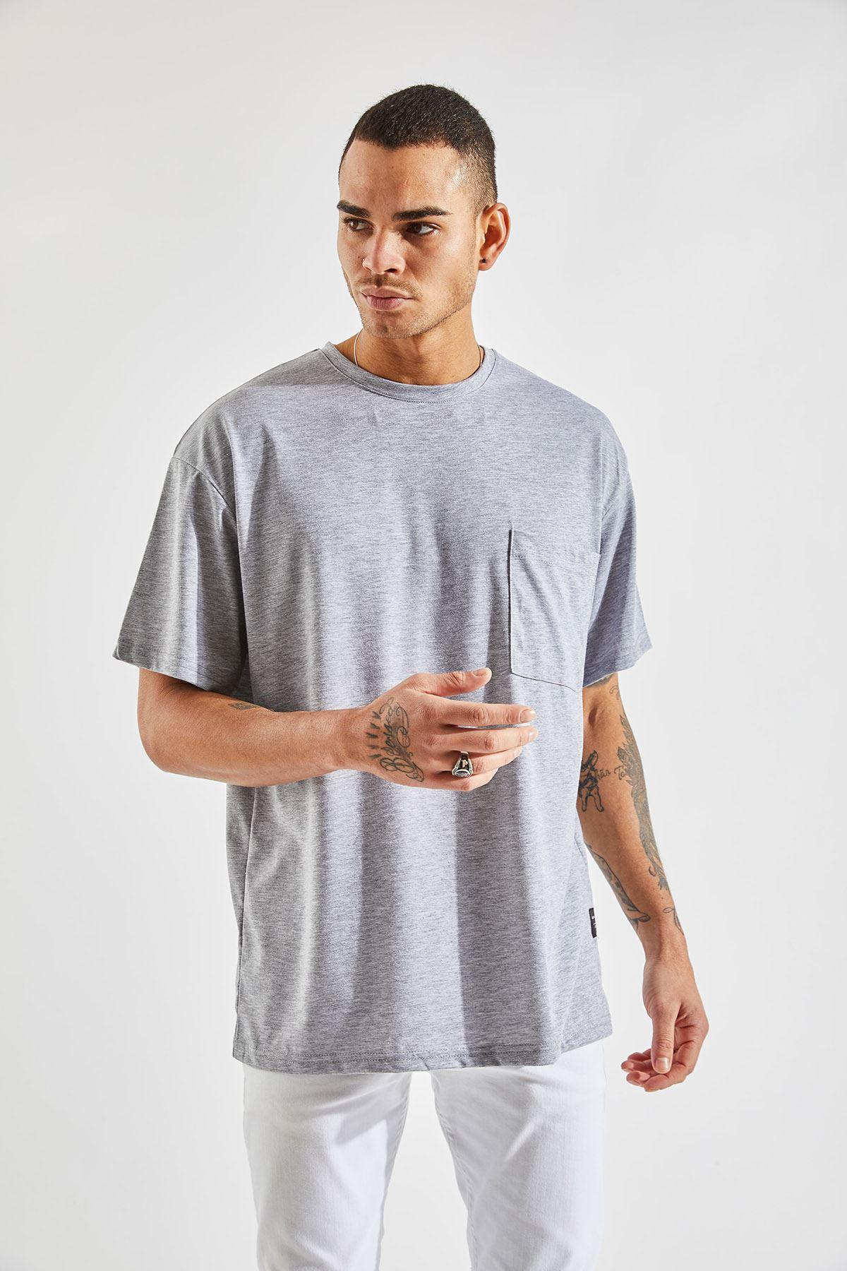 Erkek Oversize Cepli Gri Tişört