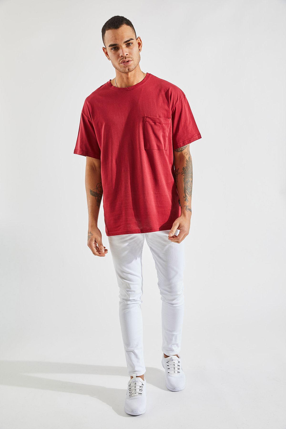 Erkek Oversize Cepli Bordo Tişört