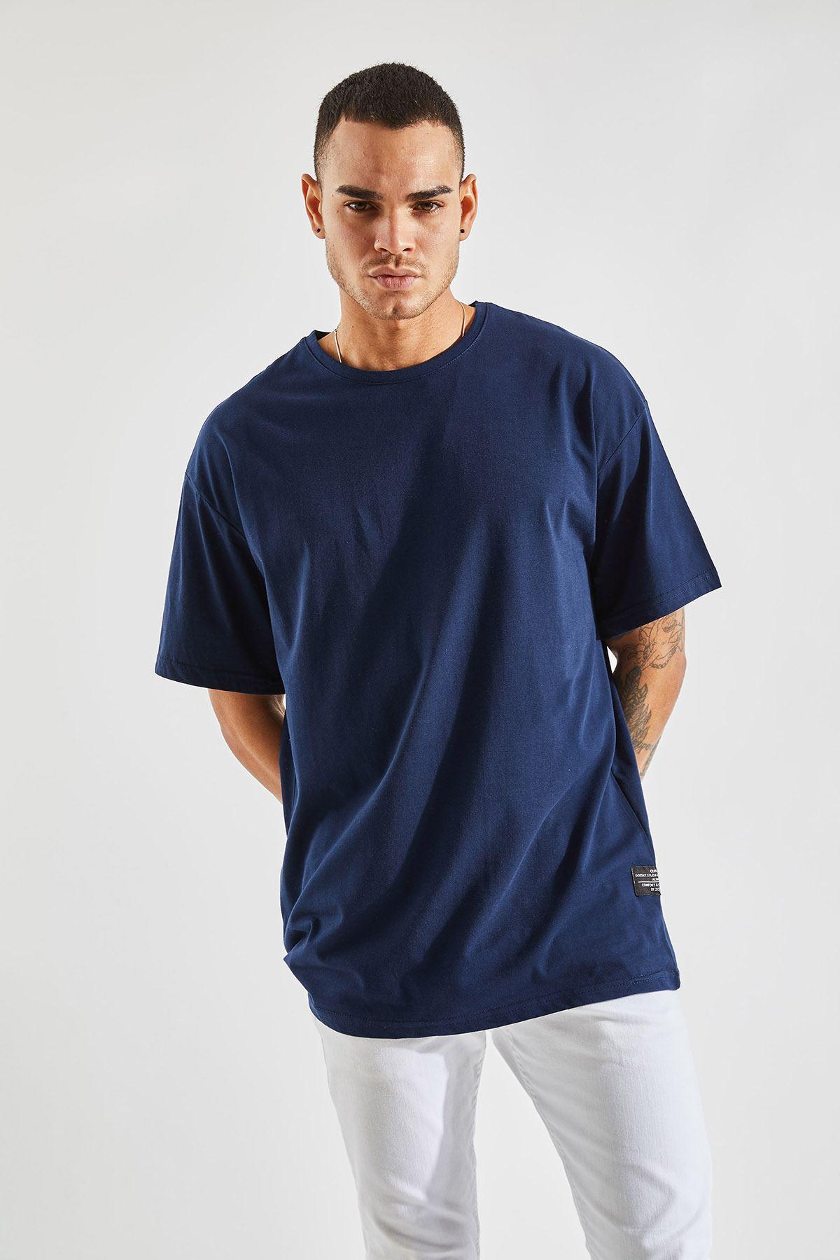 Erkek Oversize Lacivert Tişört