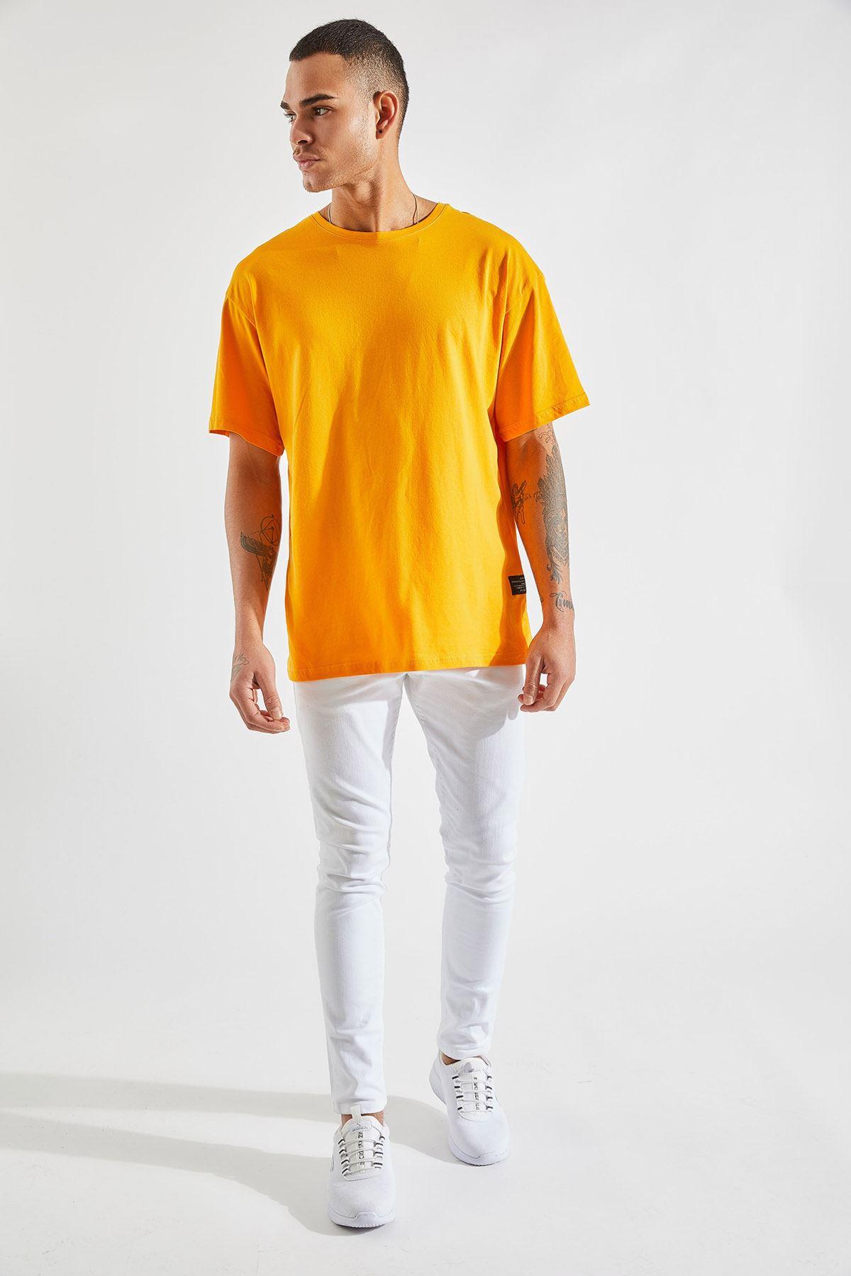 Erkek Oversize Hardal Tişört