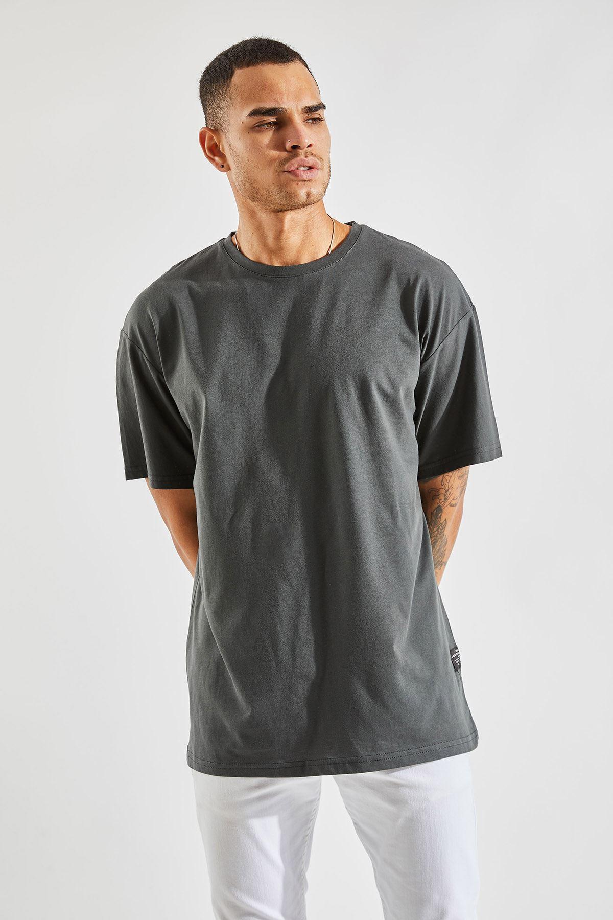Erkek Oversize Füme Tişört