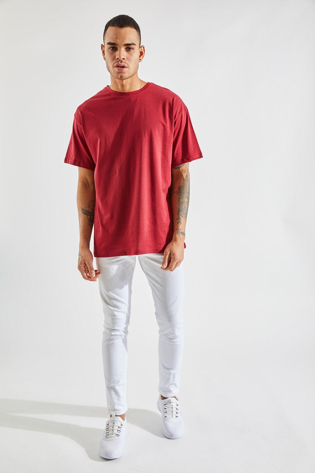 Erkek Oversize Bordo Tişört