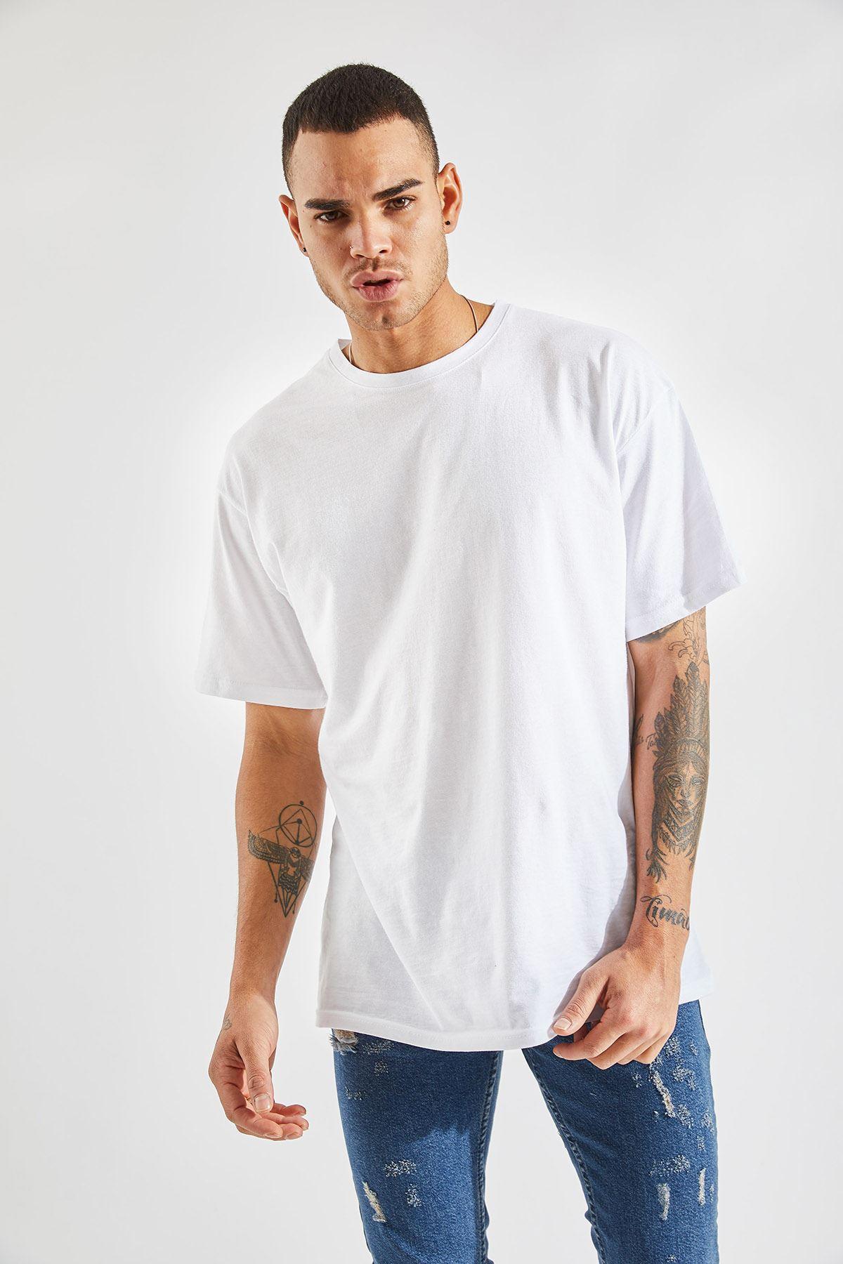 Erkek Oversize Beyaz Tişört