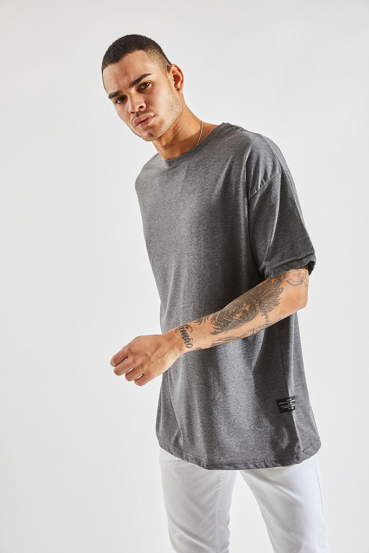 Erkek Oversize Antrasit Tişört