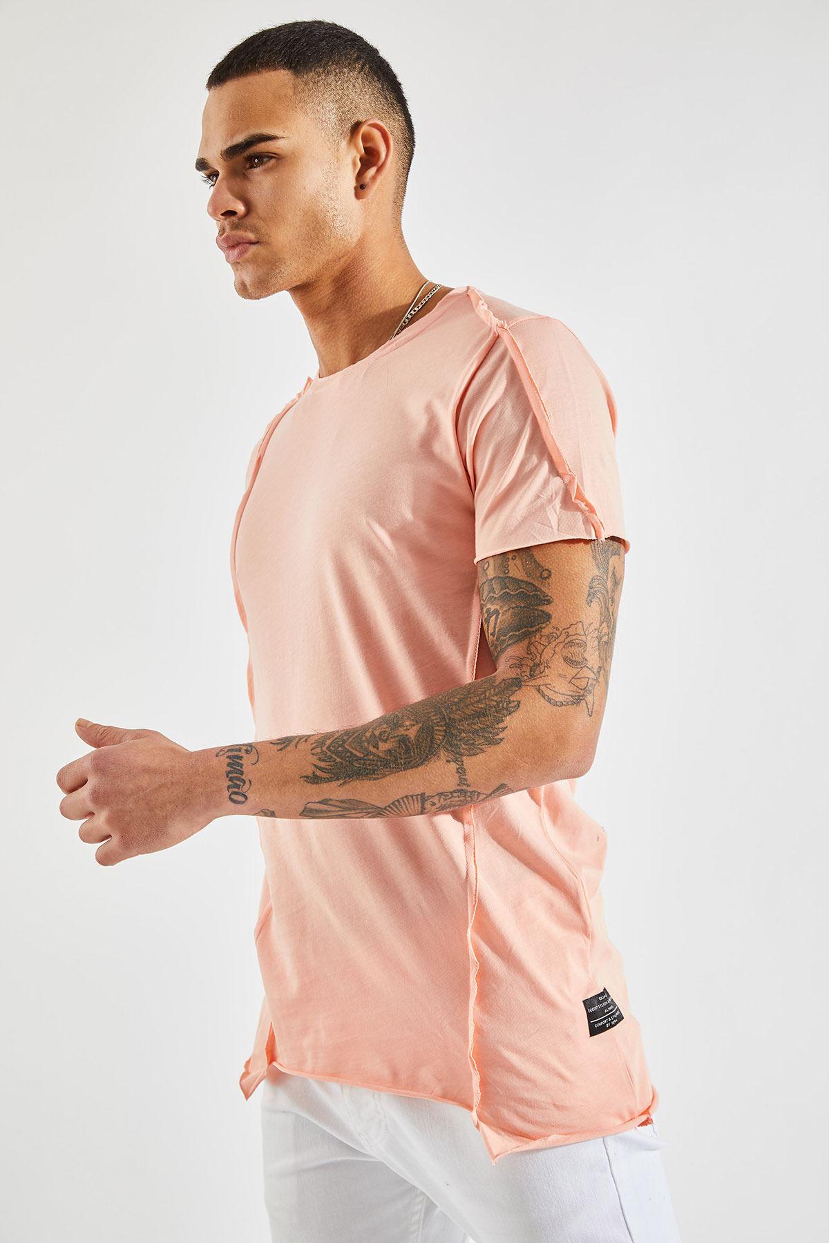 Erkek Dikiş Detaylı Somon Tişört