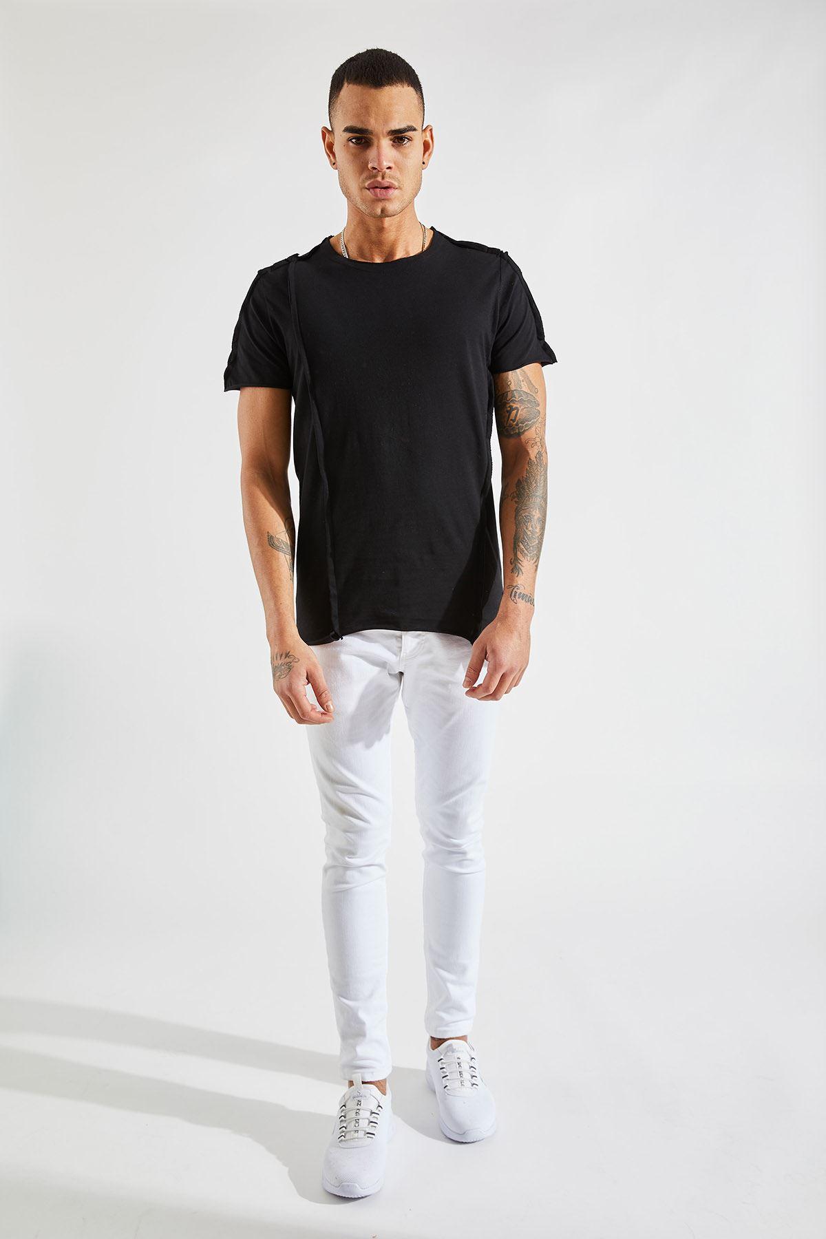 Erkek Dikiş Detaylı Siyah Tişört