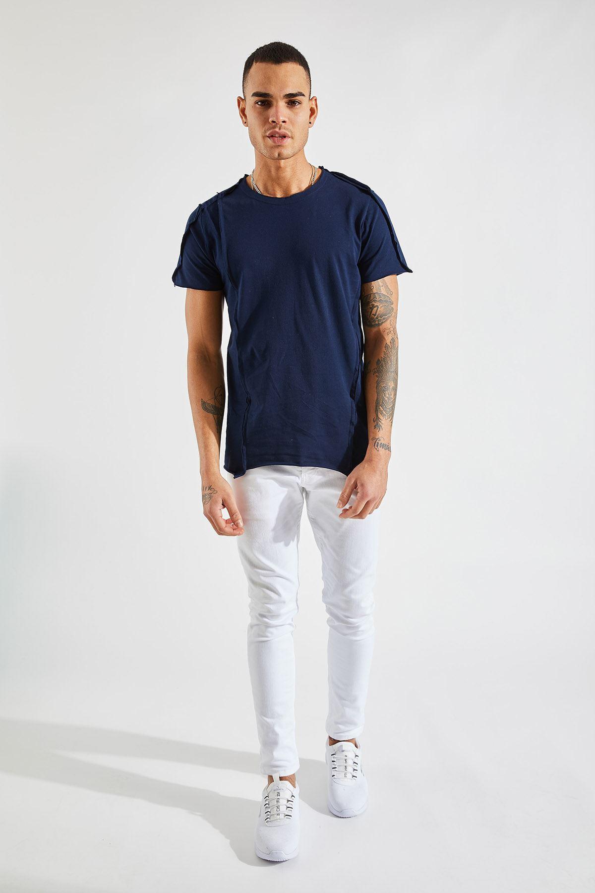 Erkek Dikiş Detaylı Lacivert Tişört