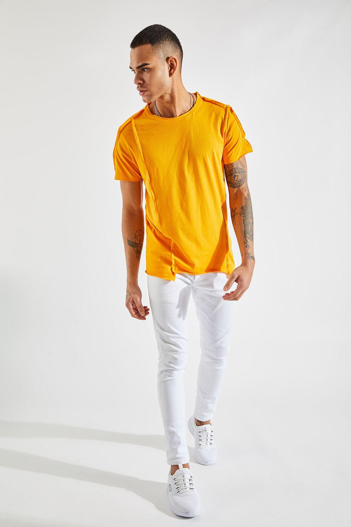 Erkek Dikiş Detaylı Hardal Tişört
