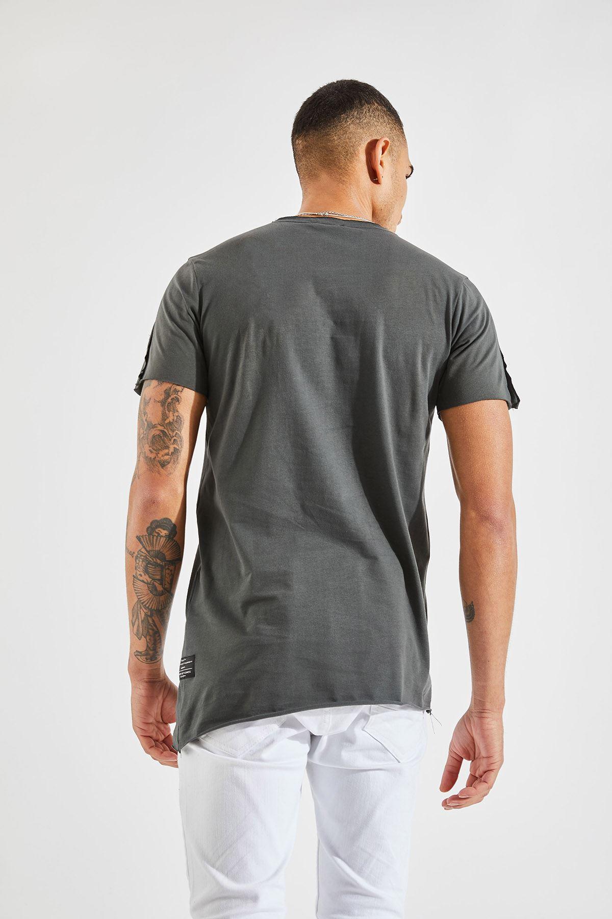 Erkek Dikiş Detaylı Füme Tişört