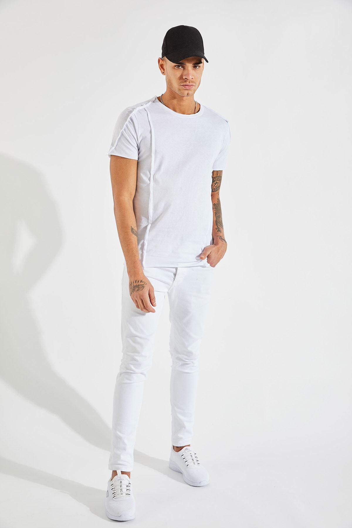 Erkek Dikiş Detaylı Beyaz Tişört