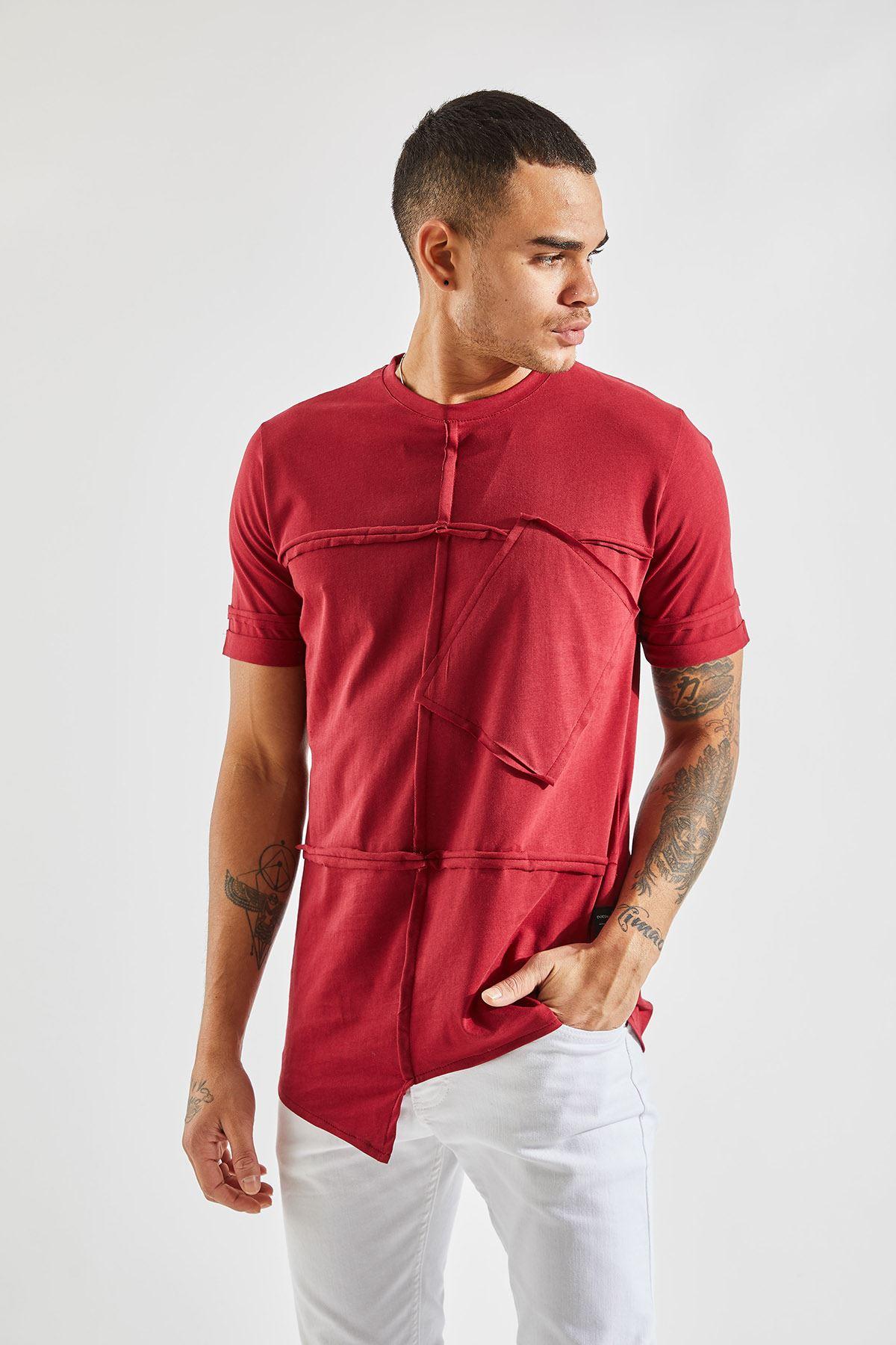 Erkek Parçalı Cepli Bordo T-Shirt