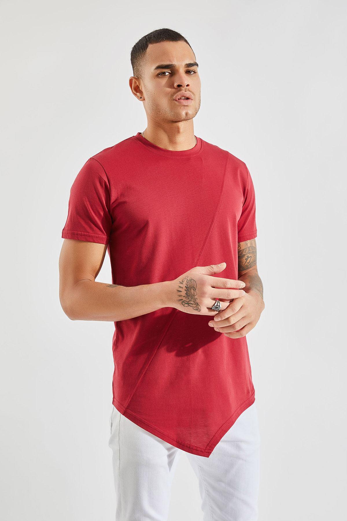 Erkek Önü Parçalı Asimetrik Kesim Bordo Tişört
