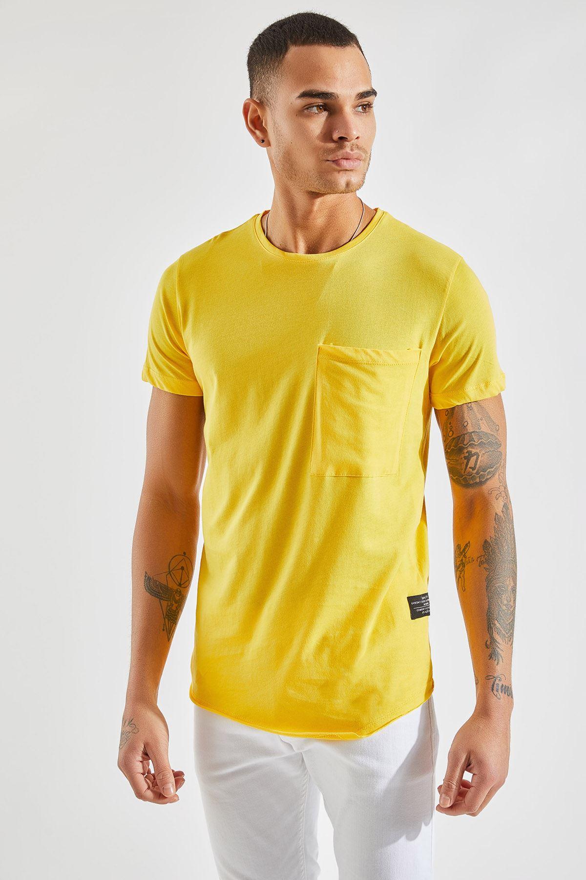 Erkek Verev Kesim Cepli Sarı Tişört