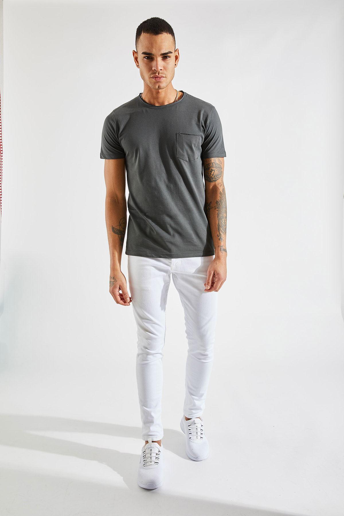 Bisiklet Yaka Cepli Füme Erkek T-Shirt