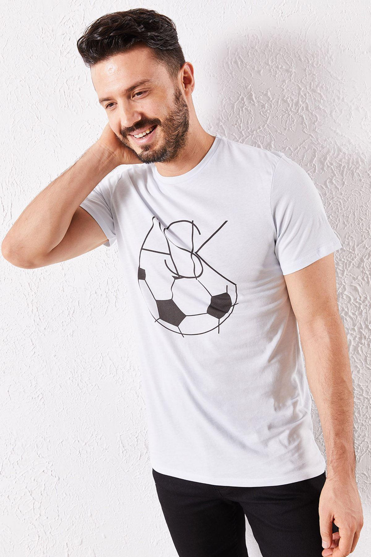 Erkek Eşli Aşk Baskılı Beyaz Tişört