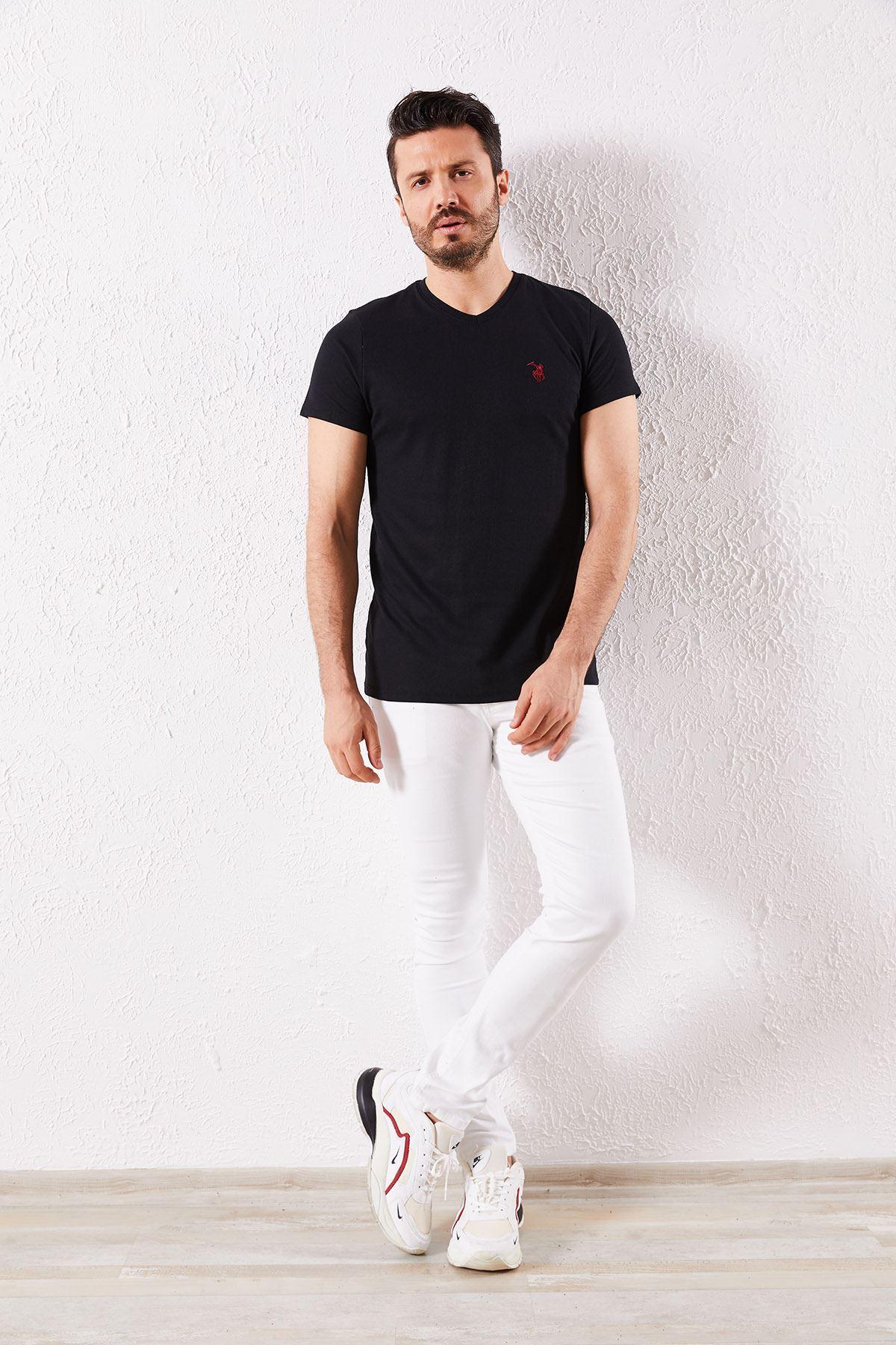 Erkek V Yaka Siyah Tişört