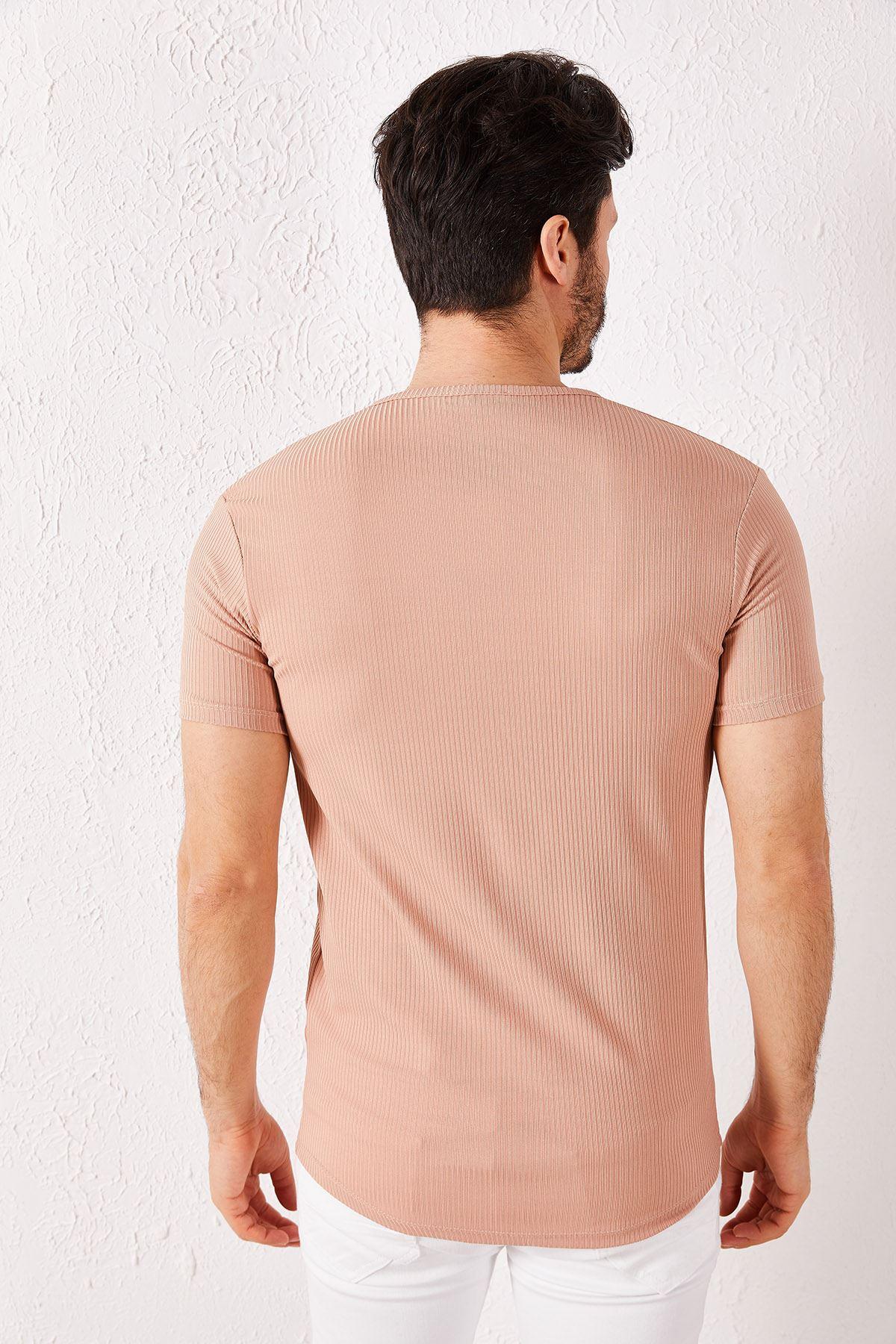 Erkek Fitilli Düğmeli Vizon Tişört