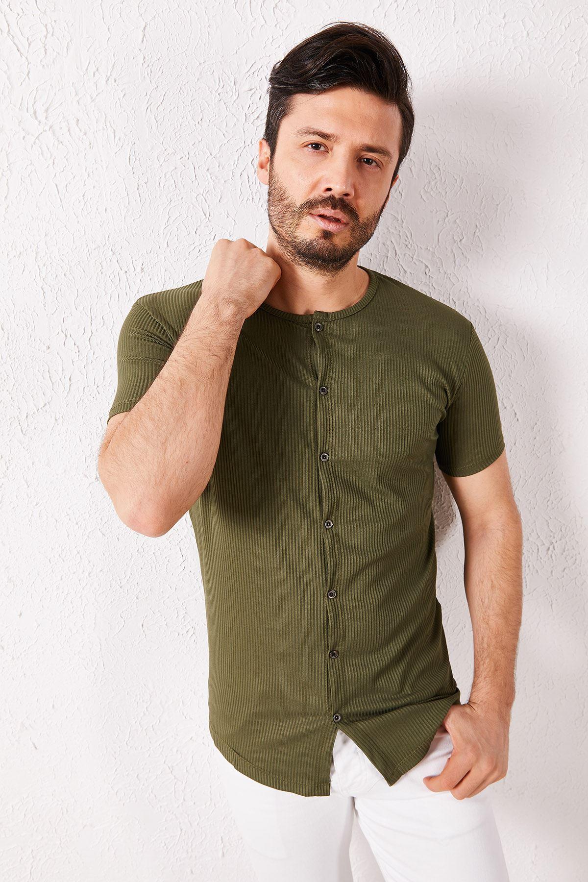Erkek Fitilli Düğmeli Haki Tişört
