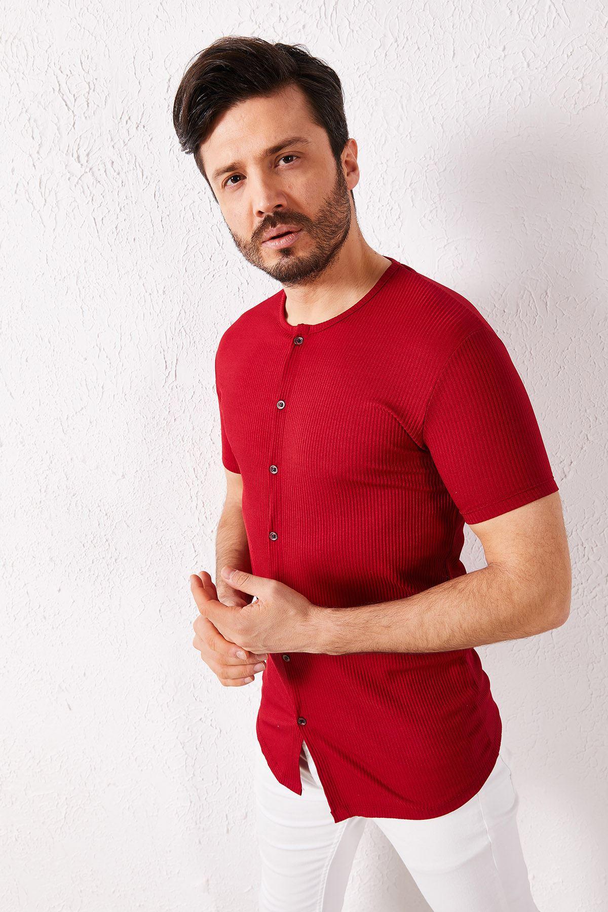 Erkek Fitilli Düğmeli Bordo Tişört