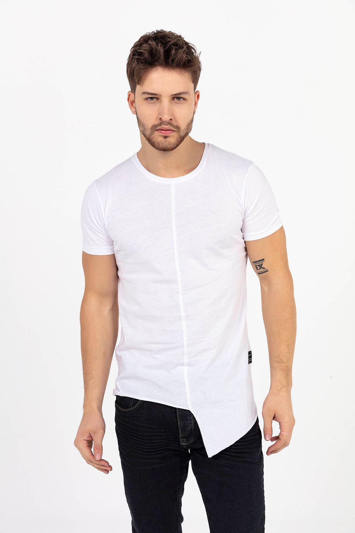 Erkek Önü Parçalı Asimetrik Beyaz T-Shirt