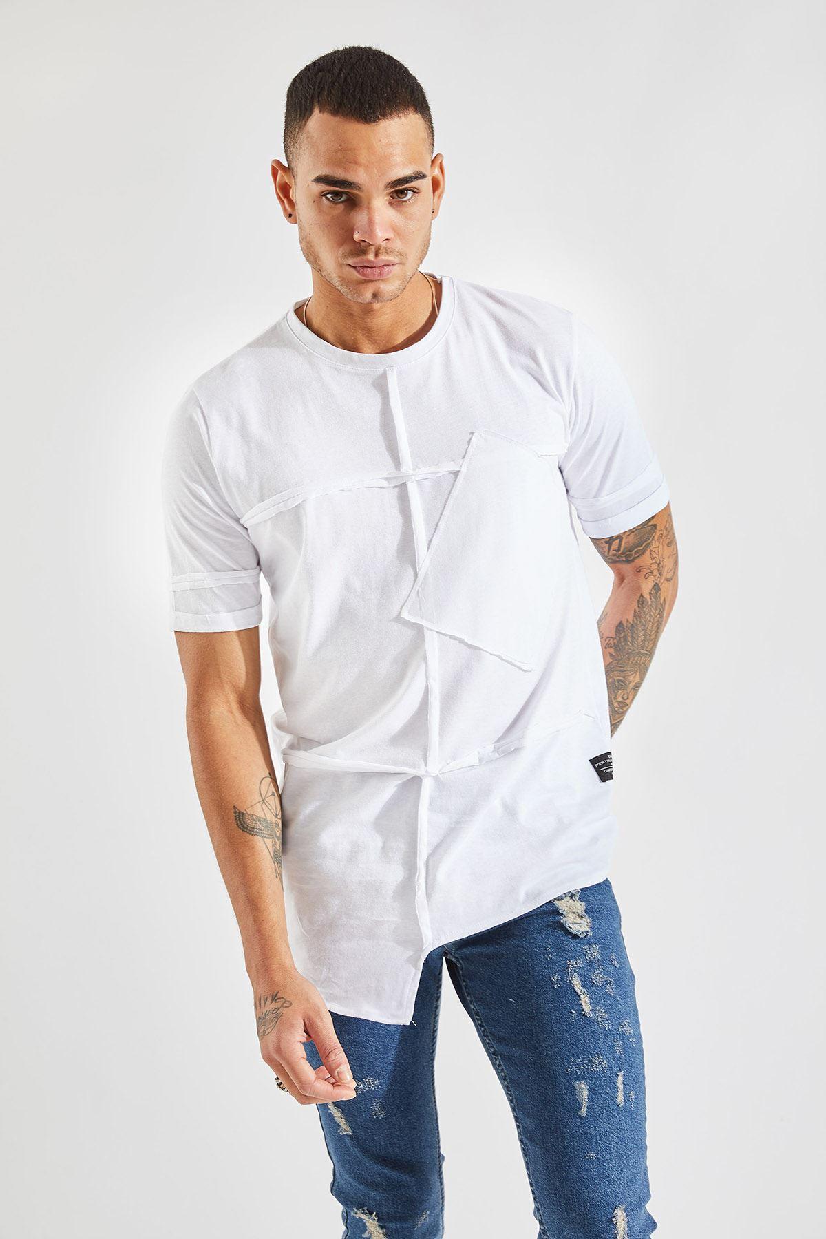 Erkek Parçalı Cepli Beyaz T-Shirt