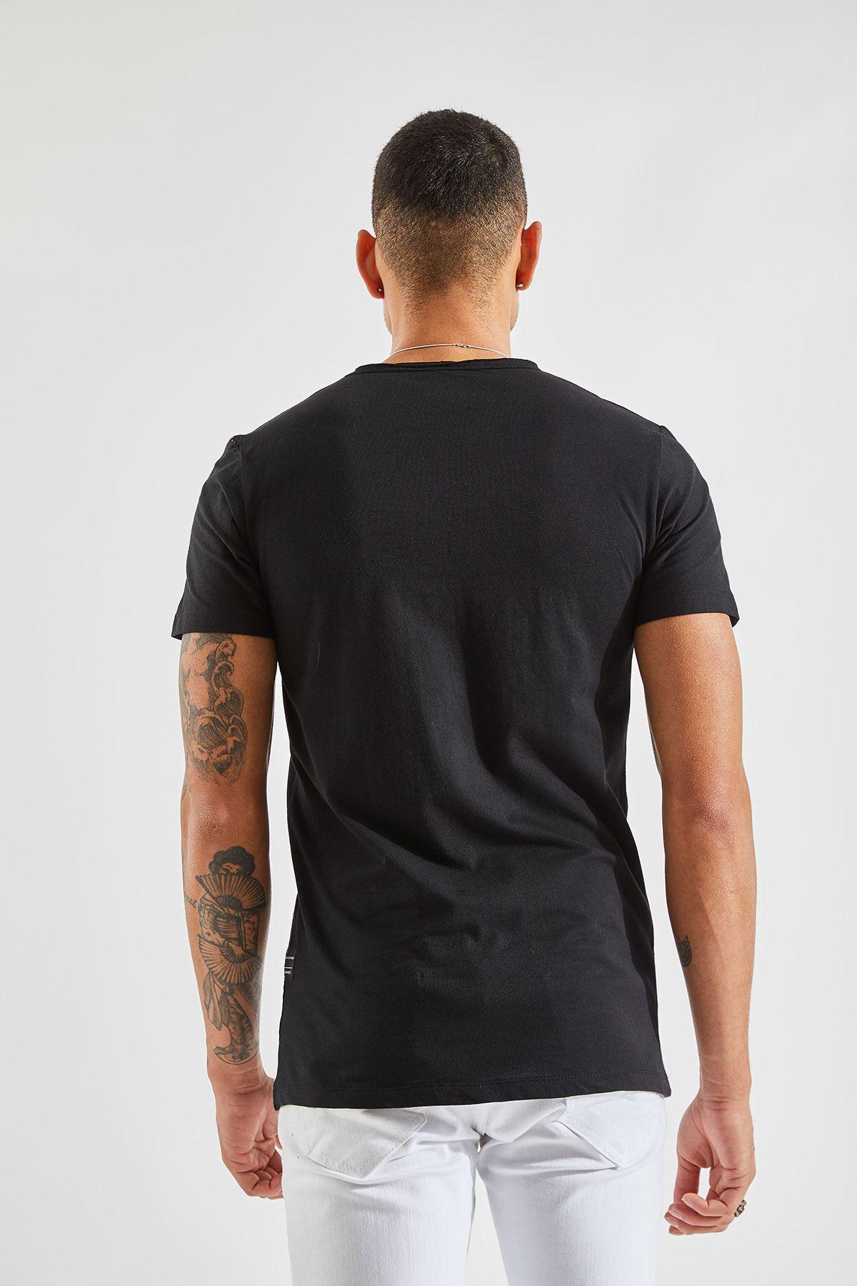 Bisiklet Yaka Cepli Siyah Erkek T-Shirt