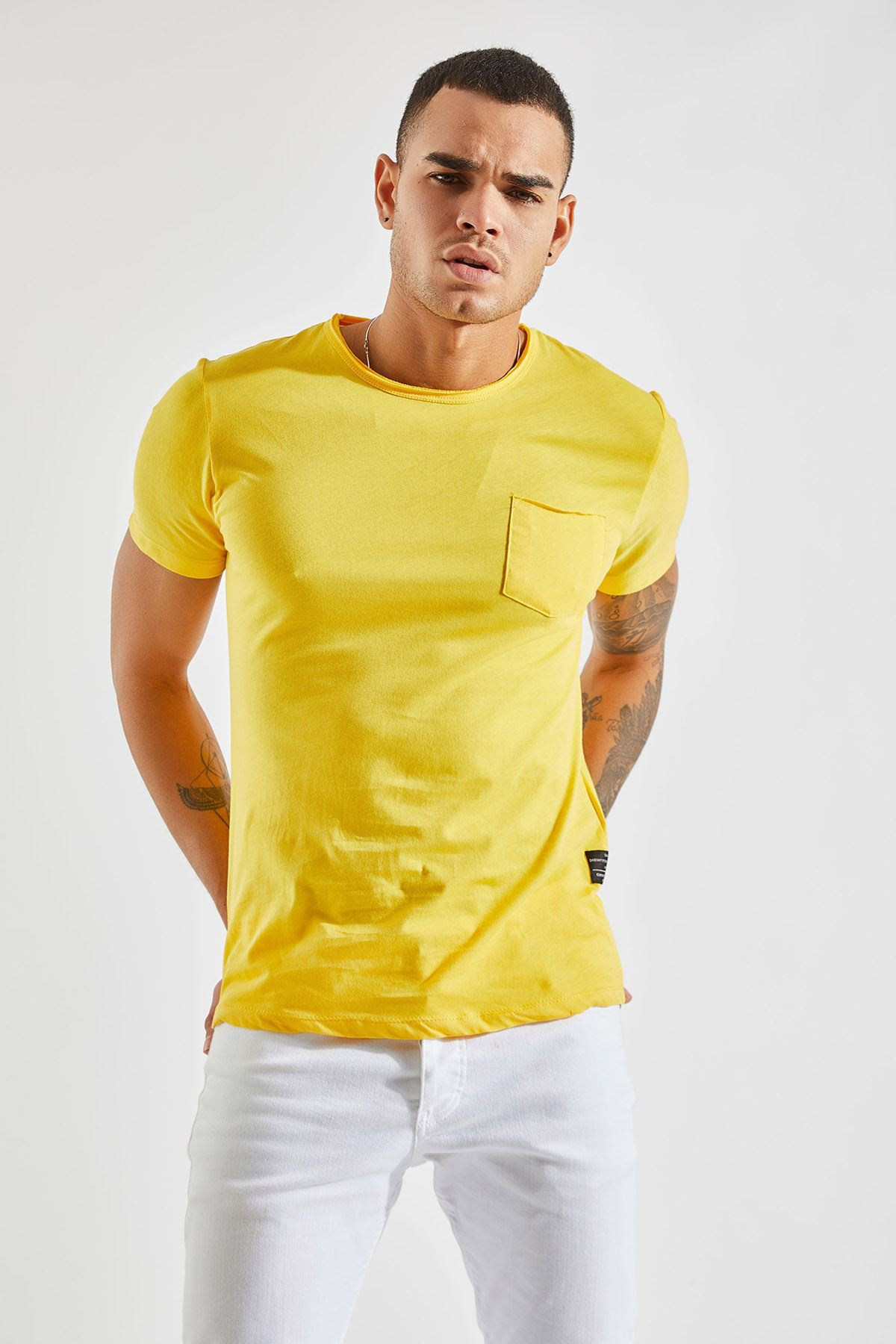 Bisiklet Yaka Cepli Sarı Erkek T-Shirt