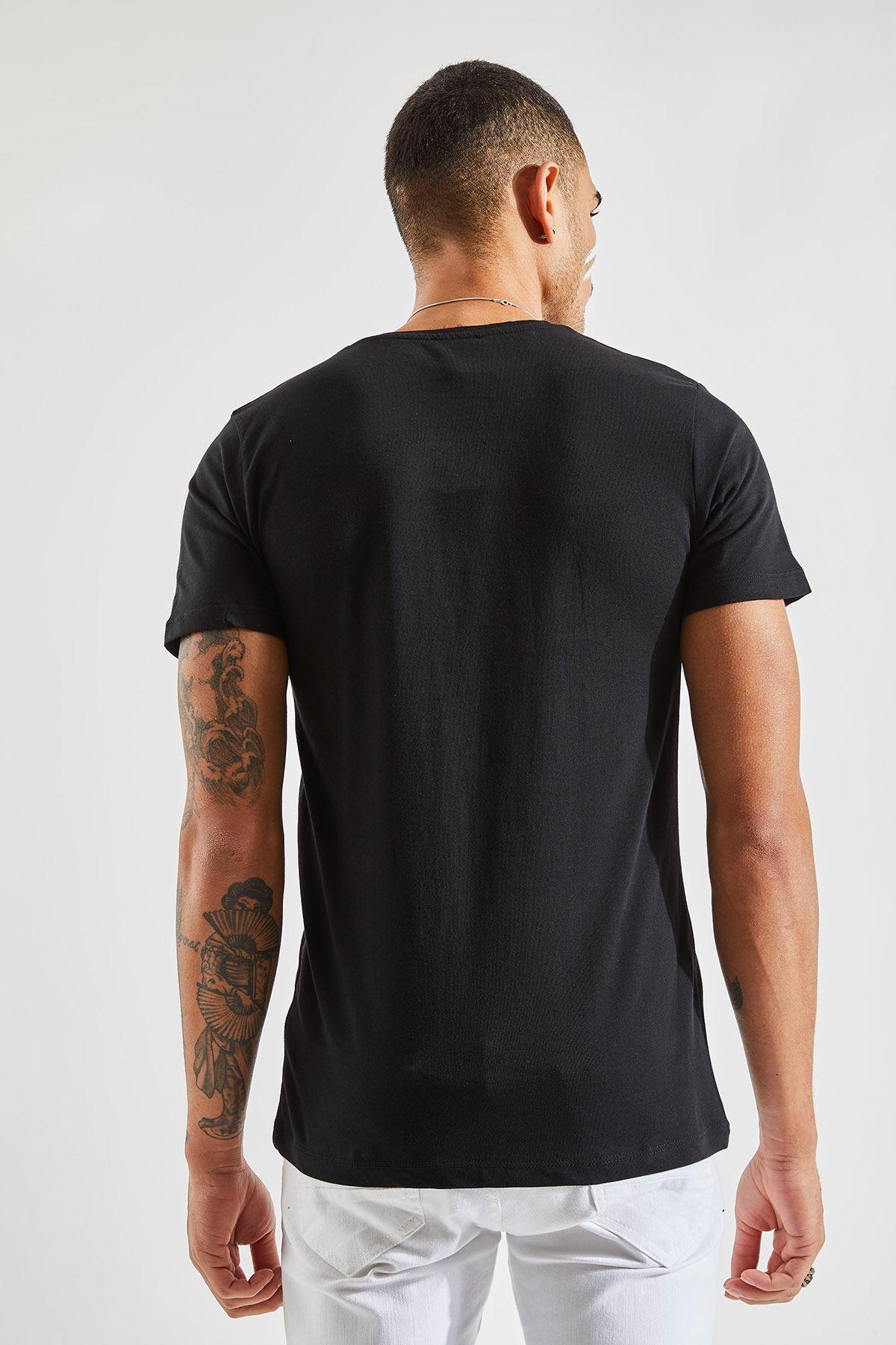 V Yaka Bay Siyah T-Shirt