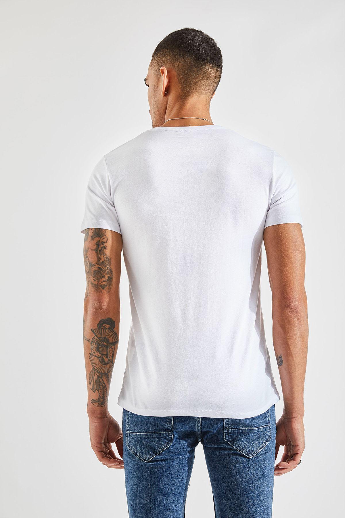 Bisiklet Yaka Bay Beyaz T-Shirt