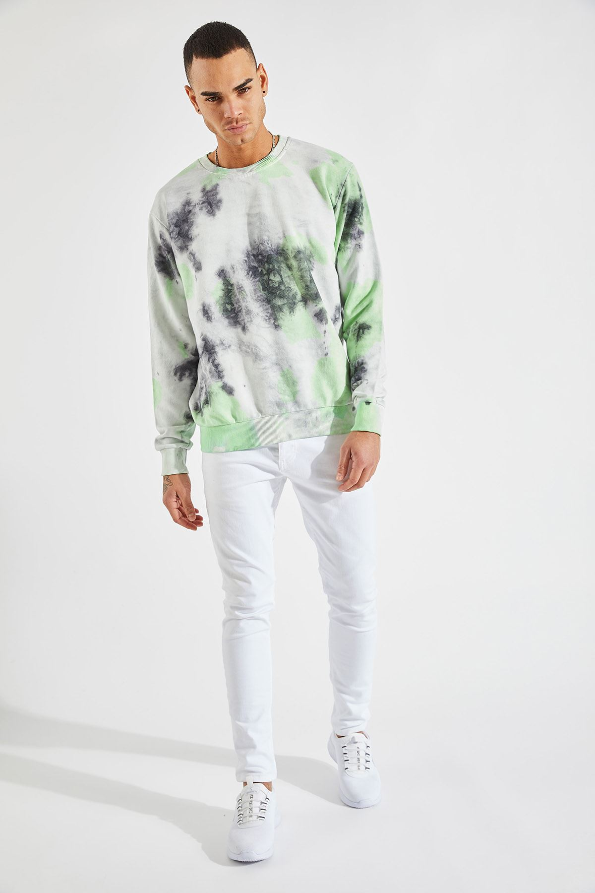 Erkek Batik Desen Yeşil Sweat