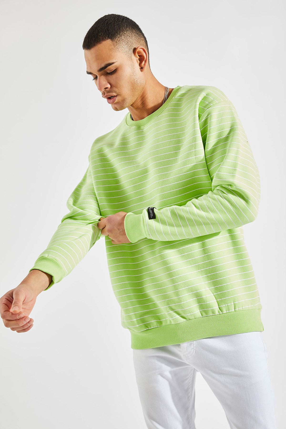 Erkek Oversize Çizgili Yeşil Sweat
