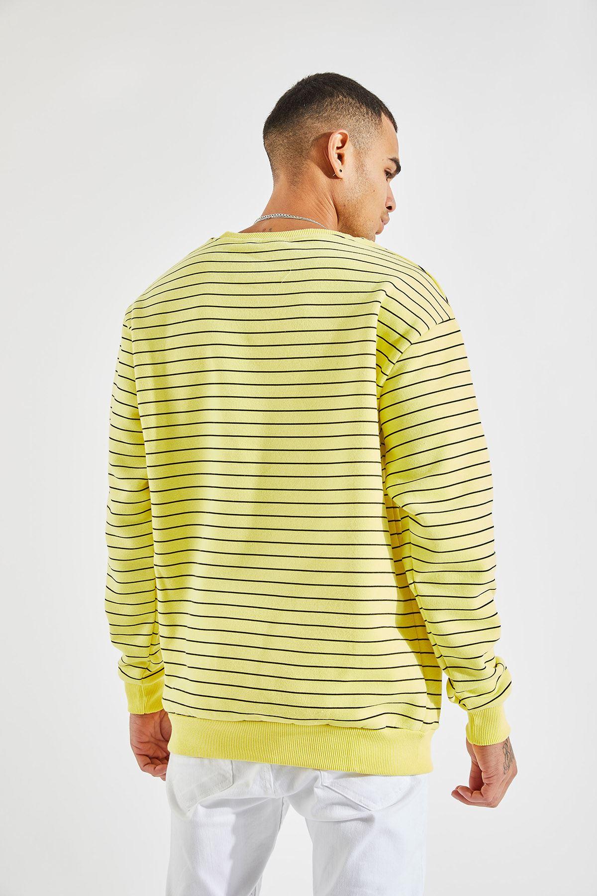 Erkek Oversize Çizgili Sarı Sweat