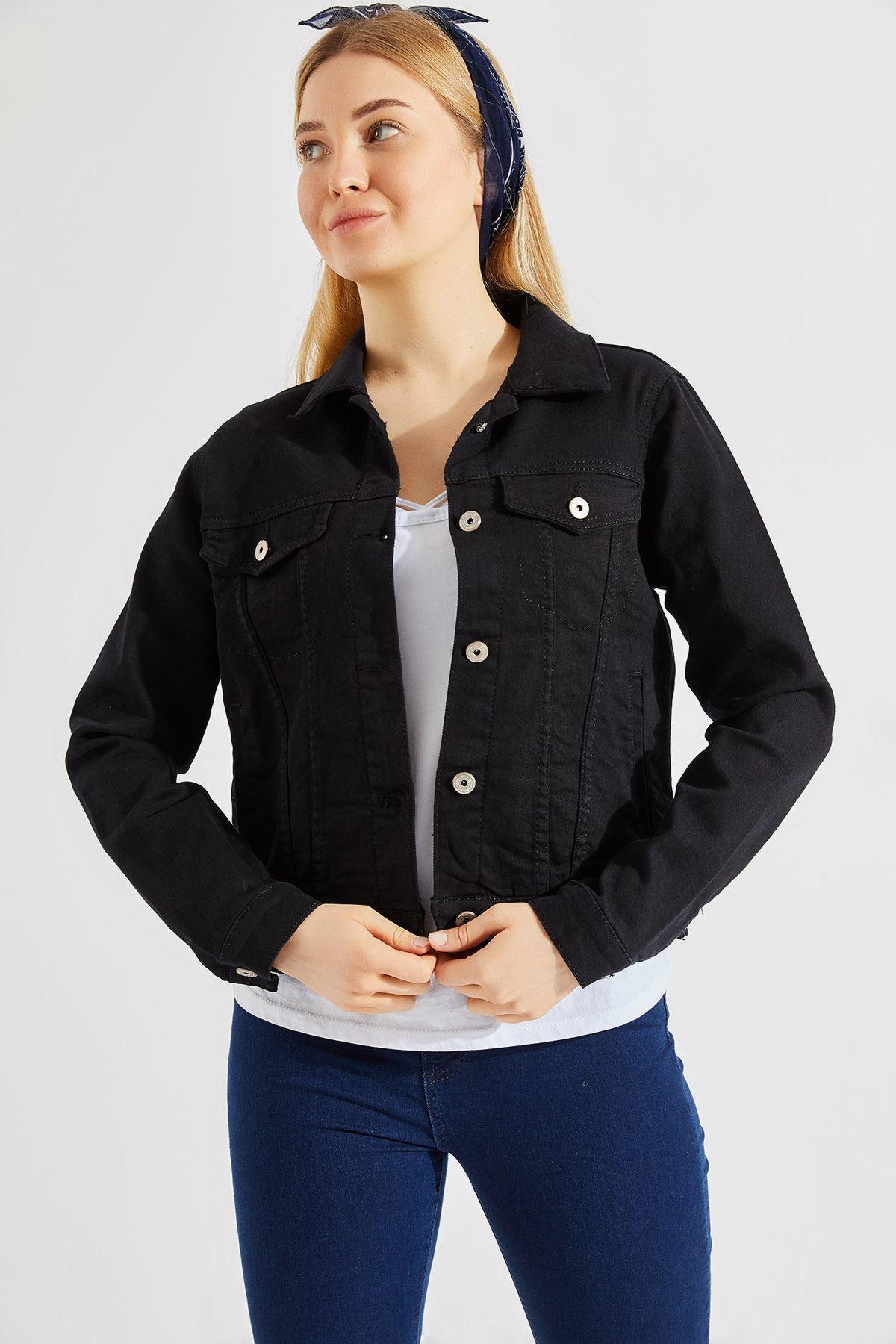 Kadın Likralı Siyah Kot Ceket