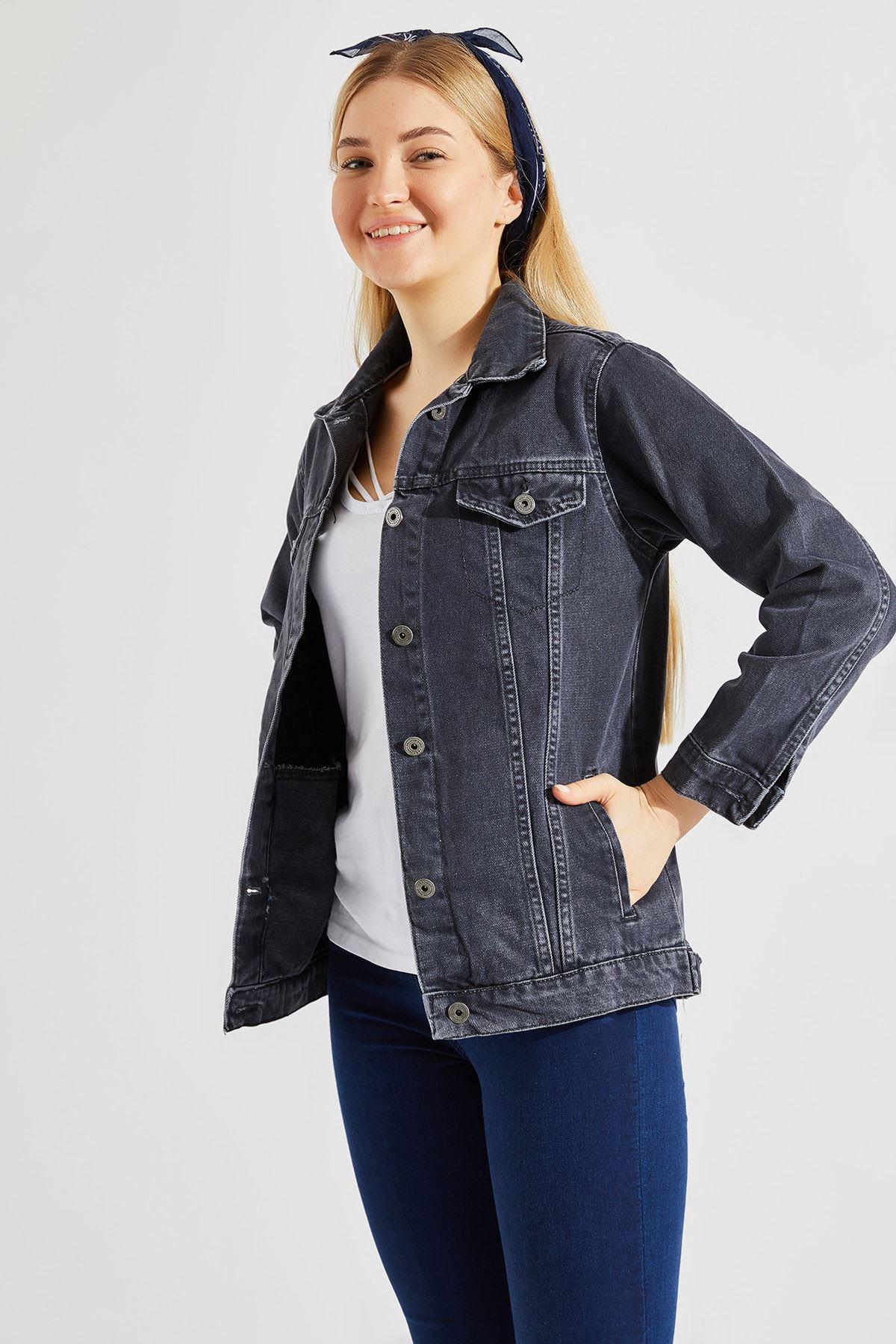 Kadın Boyfriend Füme Kot Ceket